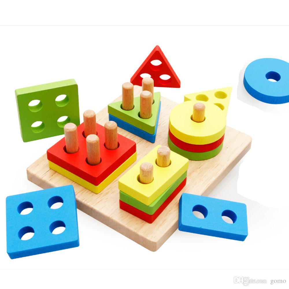 Acheter Petite Enfance Jouets Éducatifs Pôle En Bois Forme Géométrie  Intellige Outils D'apprentissage Jouets Jeux De $5.92 Du Gomo | Dhgate tout Jeu De Forme Géométrique
