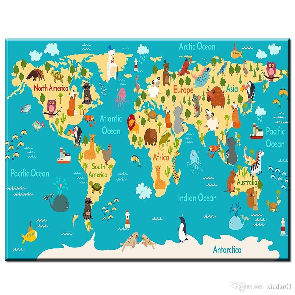 Acheter Zz1743 Moderne Toile Décorative Art Carte Du Monde Animaux Chambre  Décorations Art Mural Zoo Enfants Maison Toile Affiches De $8.95 Du dedans Carte Du Monde Enfant