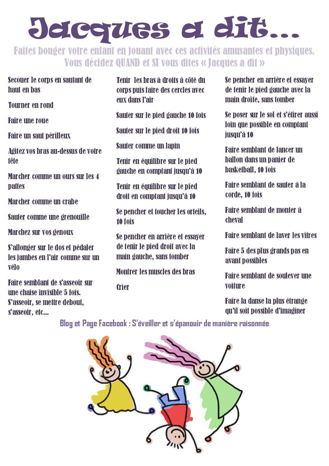 Activité] Jacques A Dit : Jouer Et Bouger! - S'éveiller Et S pour Jeux Ludique Pour Enfant