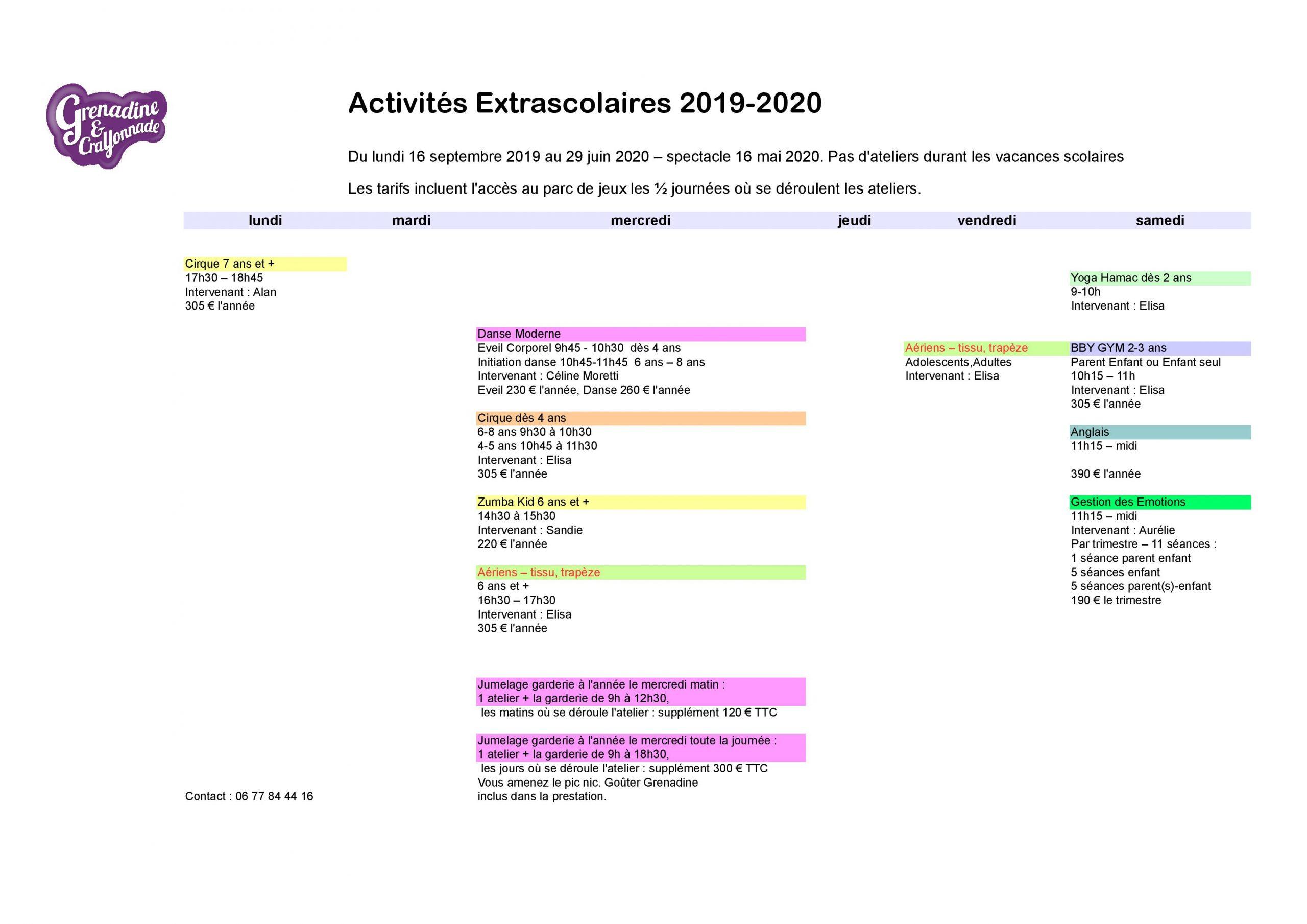 Activités Extrascolaires Enfant - Grenadine Et Crayonnade intérieur Activité 2 3 Ans