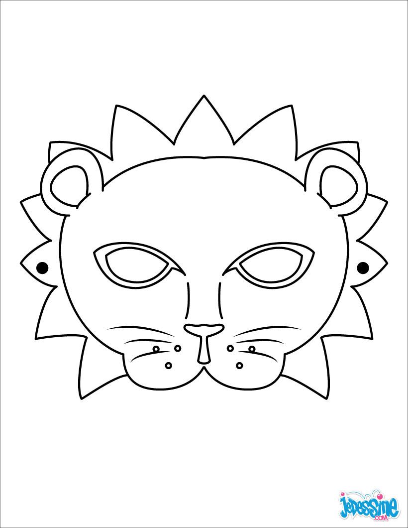 Activités Manuelles Masque De Lion - Fr.hellokids encequiconcerne Masques Animaux À Imprimer