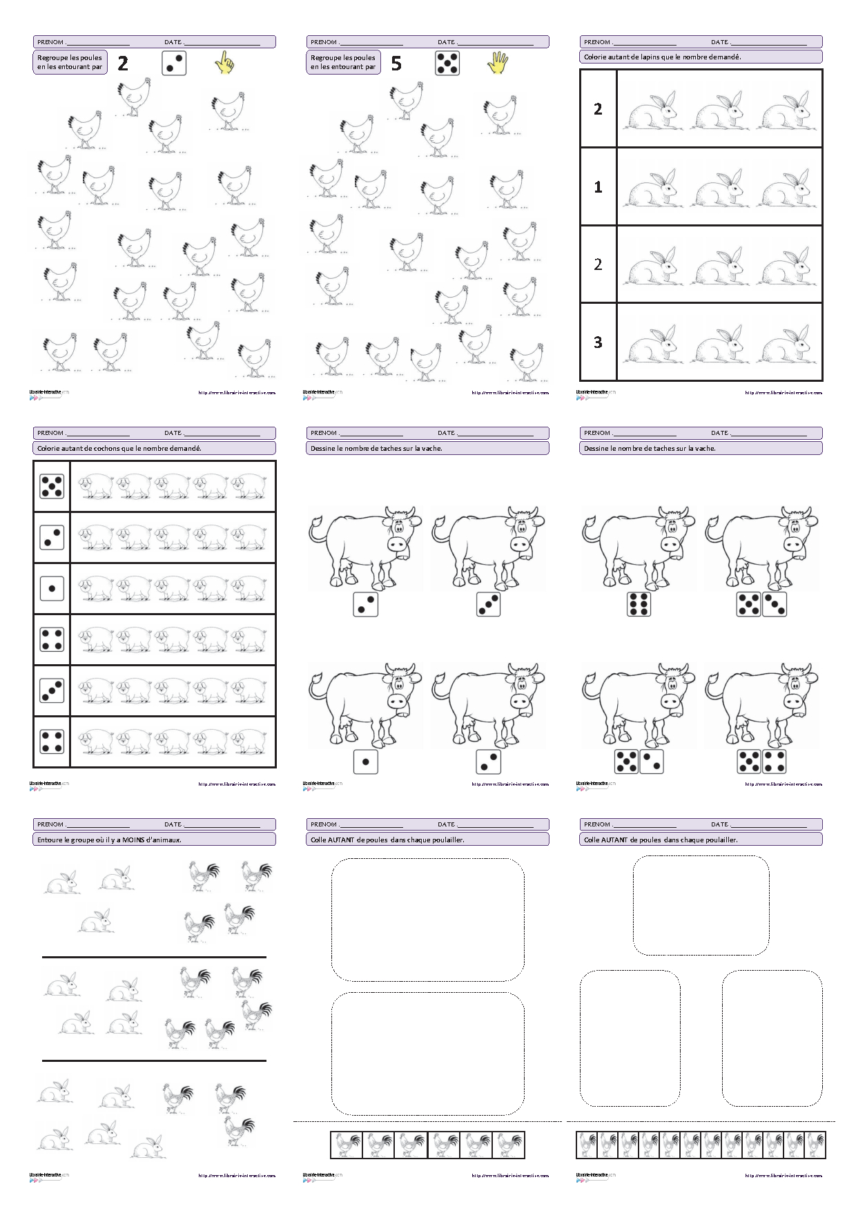 Activités Mathématiques De Hlemoine Du Tableau Math serapportantà Fiche D Exercice Grande Section A Imprimer