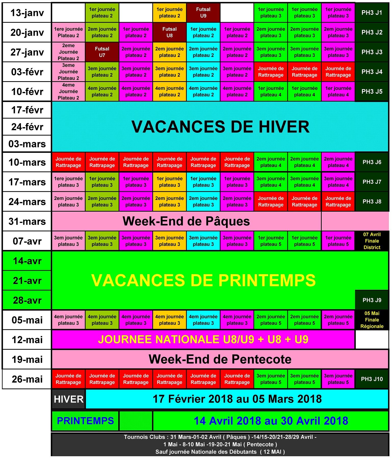 Actualité - Planning Annuel 2017/2018 Des Jeunes - Club à Planning Annuel 2018