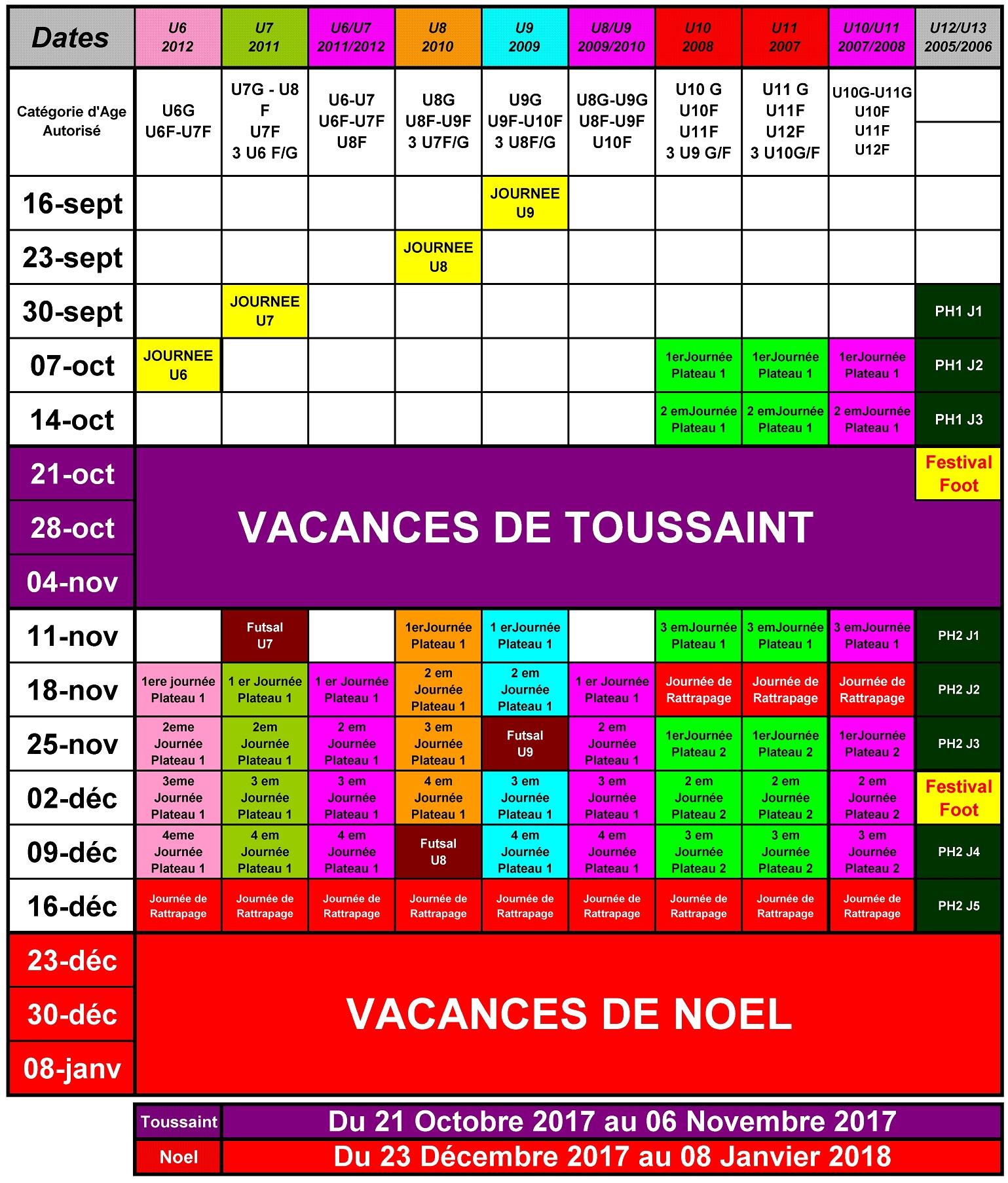 Actualité - Planning Annuel 2017/2018 Des Jeunes - Club concernant Planning Annuel 2018