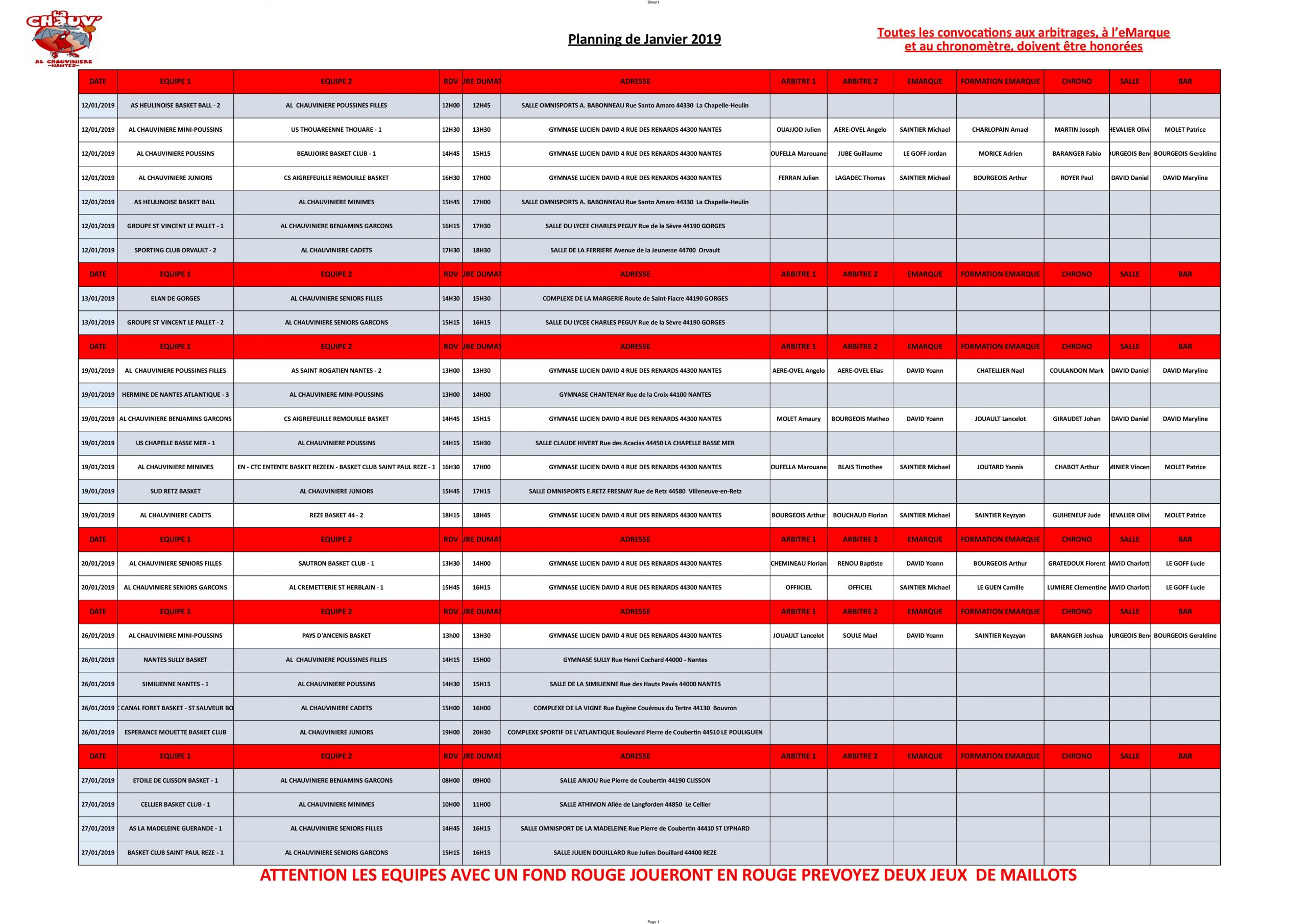 Actualité - Planning Du Mois De Janvier 2019 - Club Basket concernant Planning Annuel 2018