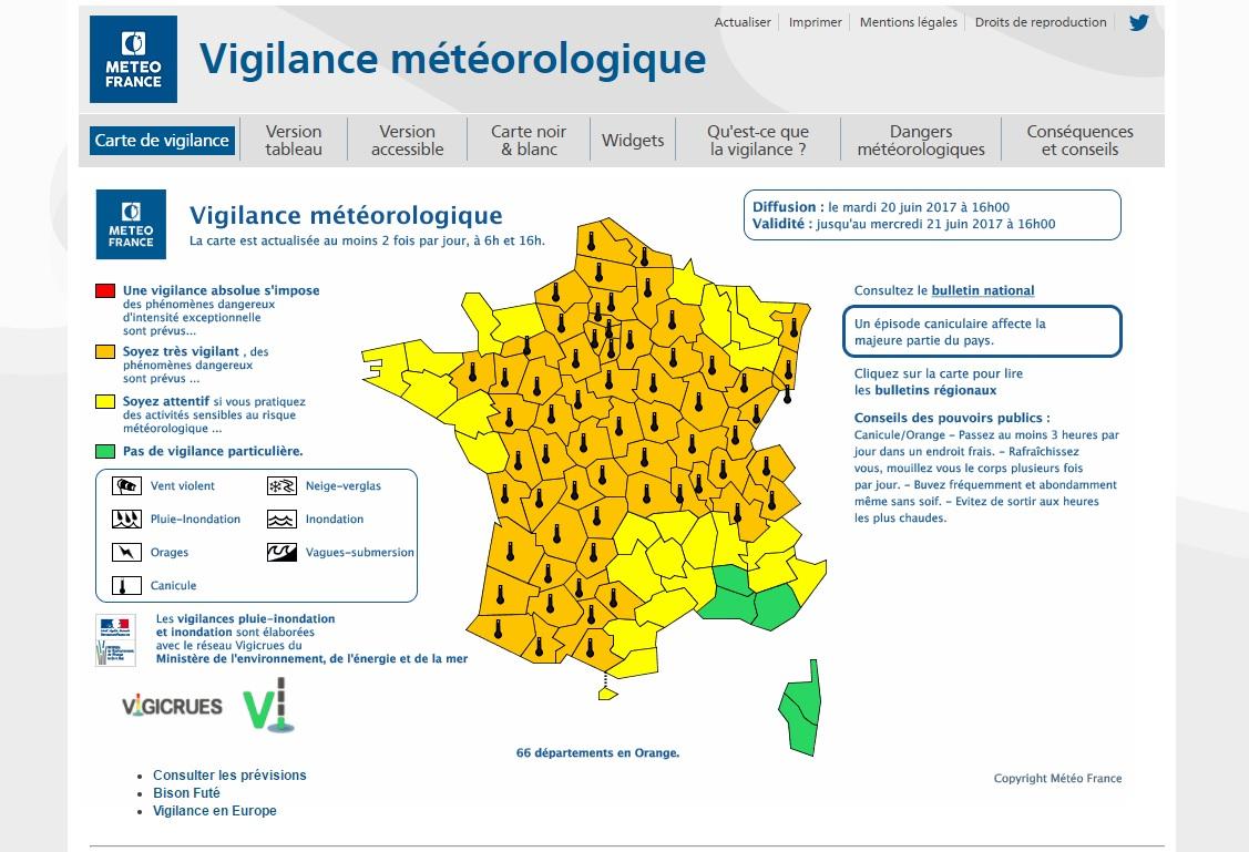 Actualités | Météo : Soixante-Six Départements En Vigilance avec Carte Des Départements De France 2017