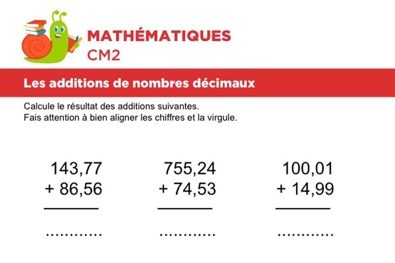 Additions De Nombres Décimaux Niveau 1, Exercice 2 encequiconcerne Exercices De Maths Cm1 À Imprimer Gratuit