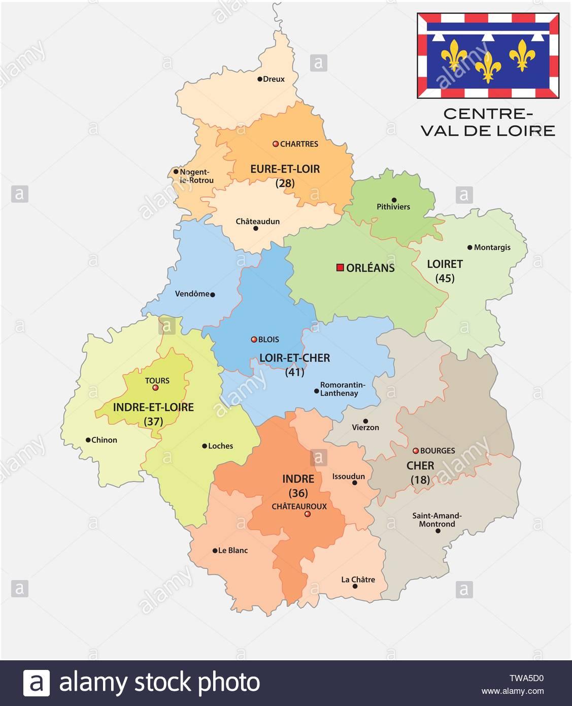 Administrative And Political Map Of The Region Centre Val De destiné Carte De Region France