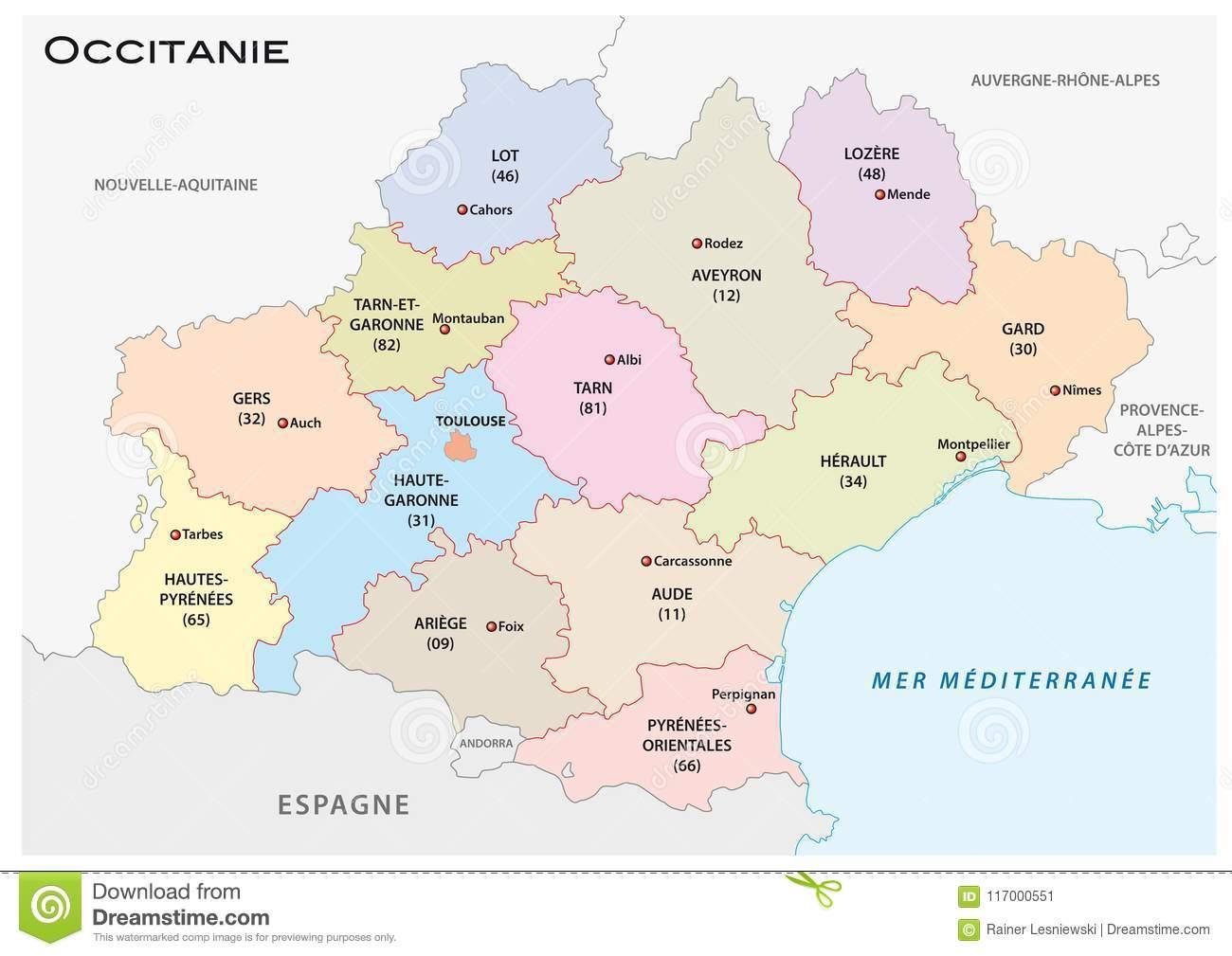 Administrative And Political Vector Map Of The Occitanie pour Carte De Region France