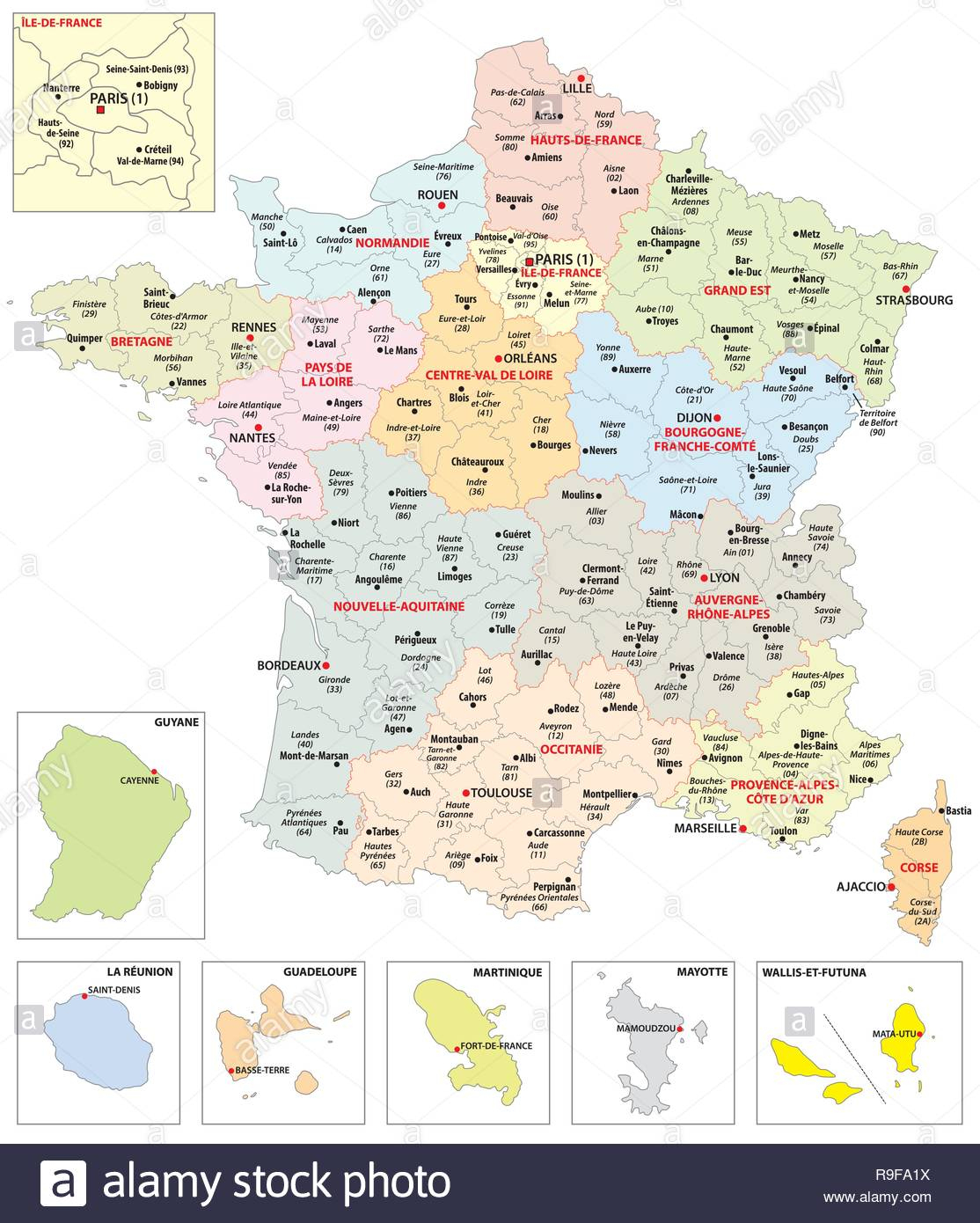 Administrative Map Of The 13 Regions Of France And Overseas encequiconcerne Les 13 Régions