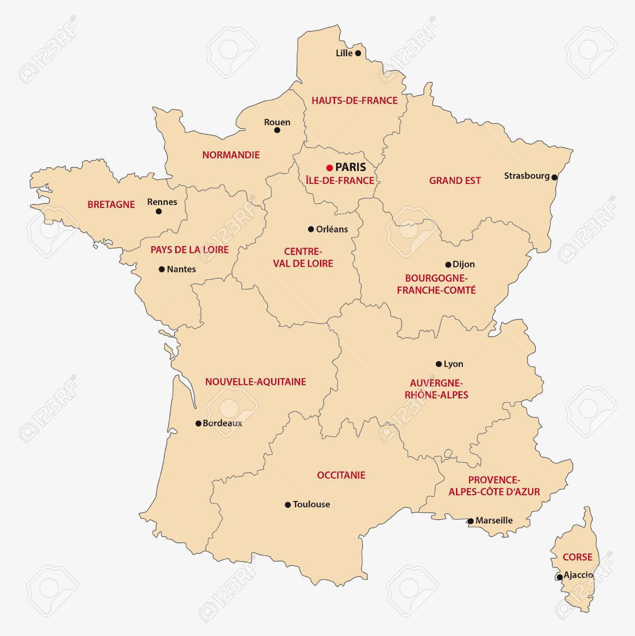 Administrative Map Of The 13 Regions Of France Since 2016 dedans Carte Des Régions De France 2016