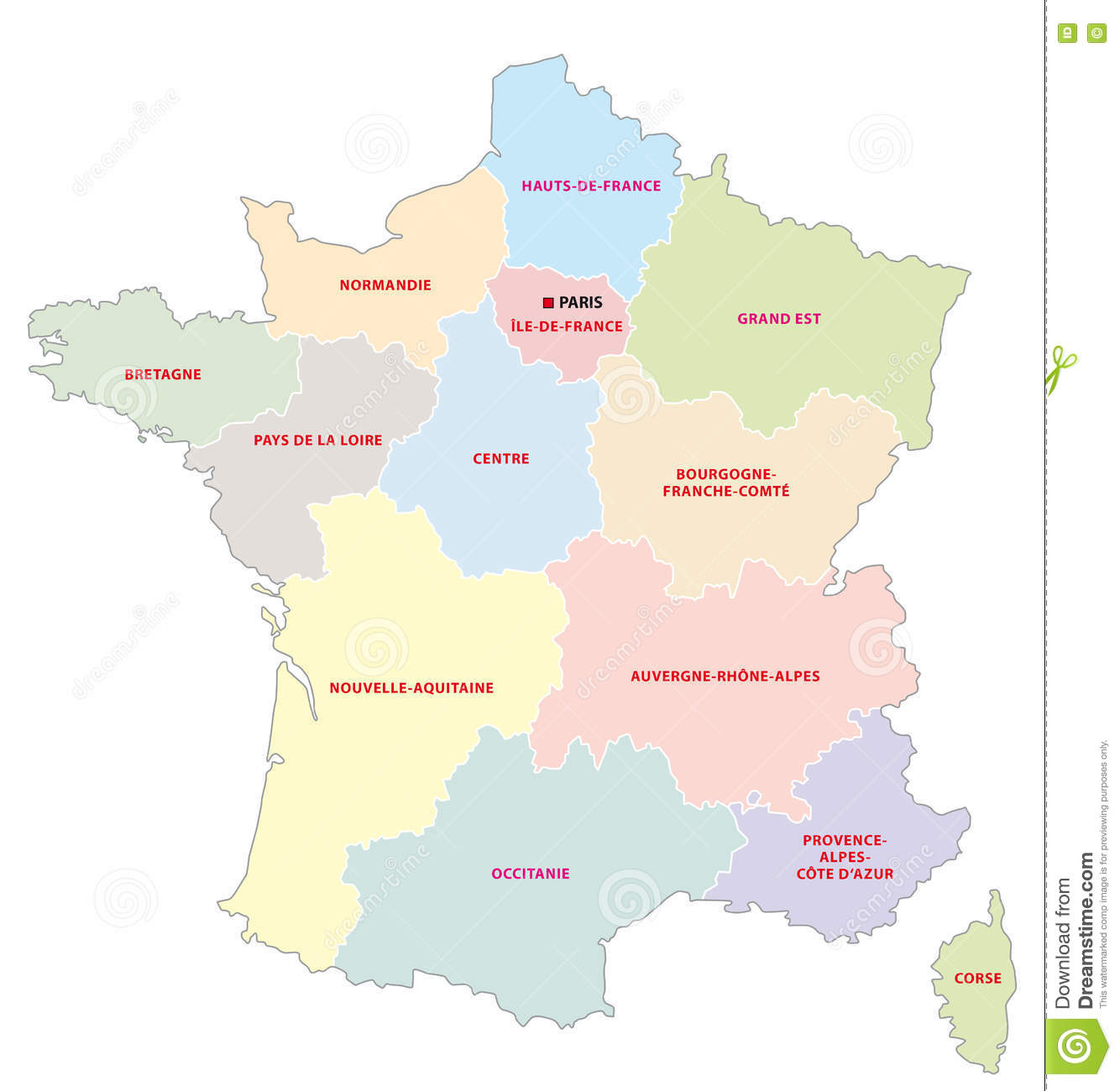 Administrative Map Of The 13 Regions Of France Since 2016 intérieur Les 13 Régions