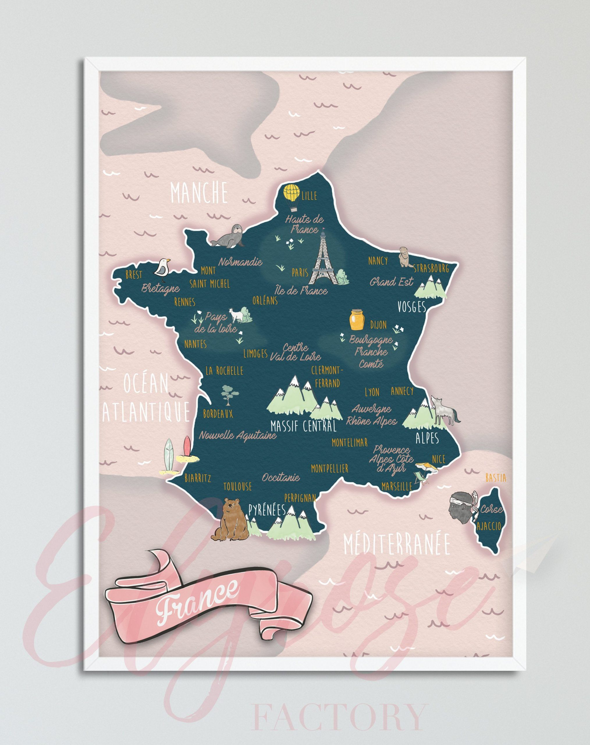 Affiche Carte De La France Rose | Carte De France, France Et encequiconcerne Carte De France Ludique