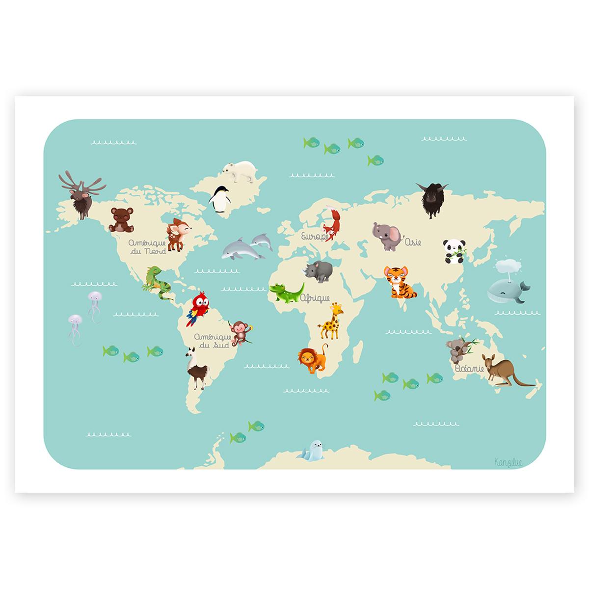 Affiche Éducative - Le Monde Des Animaux avec Carte Du Monde Enfant