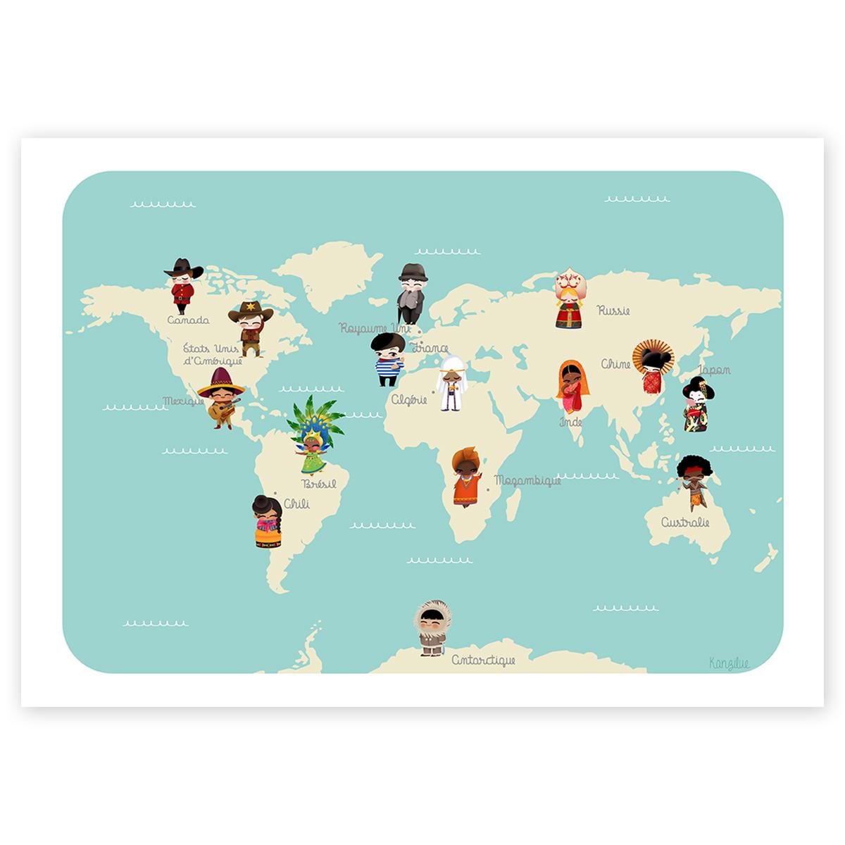 Affiche Éducative - Le Monde Des Enfants serapportantà Carte Du Monde Enfant