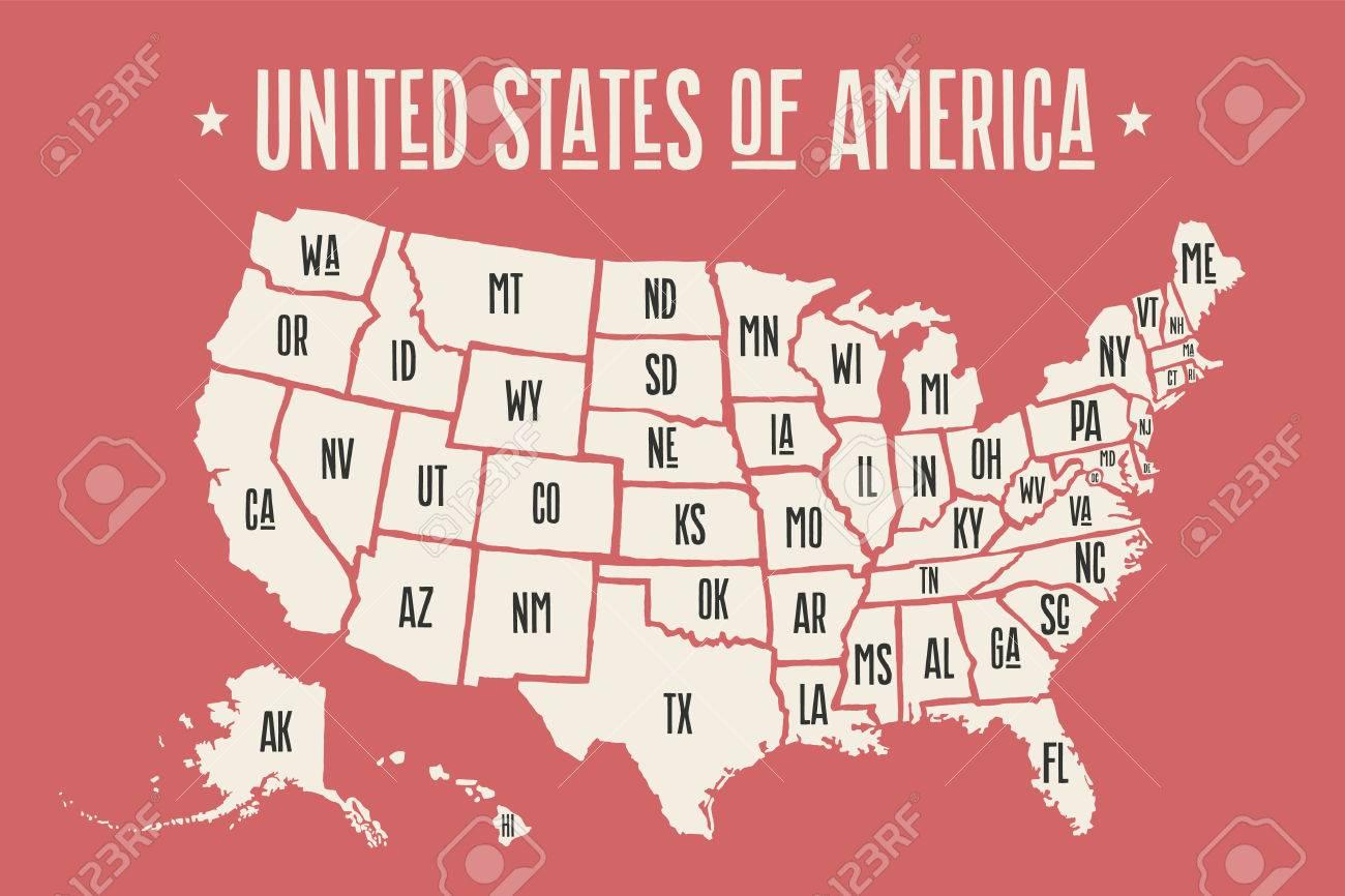 Affiche La Carte Des États-Unis D'amérique Avec Des Noms D'état. Imprimer  La Carte Des Etats-Unis Pour T-Shirt, Une Affiche Ou Géographique  Conception serapportantà Carte Des Etats Unis À Imprimer