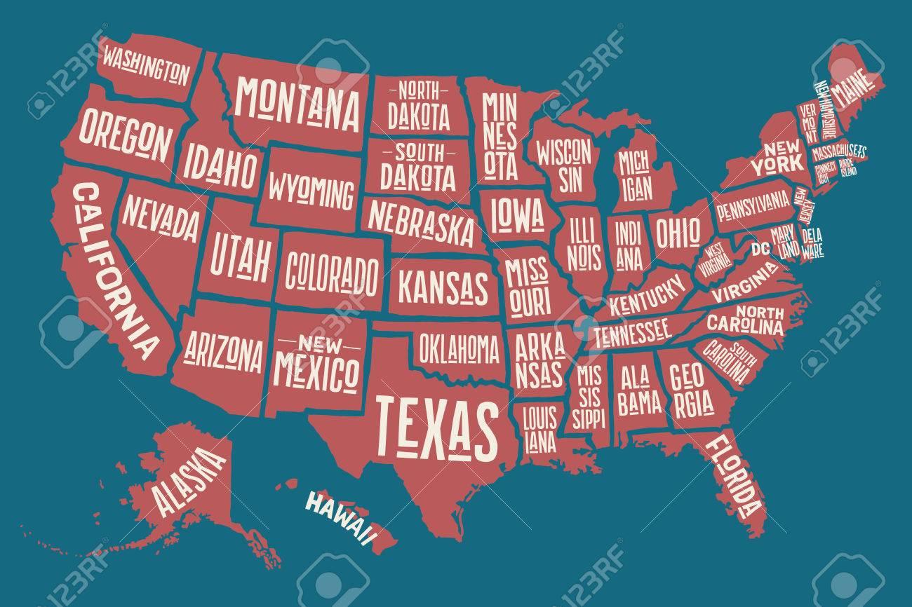 Affiche La Carte Des États-Unis D'amérique Avec Des Noms D'état. Imprimer  La Carte Des Etats-Unis Pour T-Shirt, Une Affiche Ou Thèmes Géographiques. à Carte Des Etats Unis À Imprimer