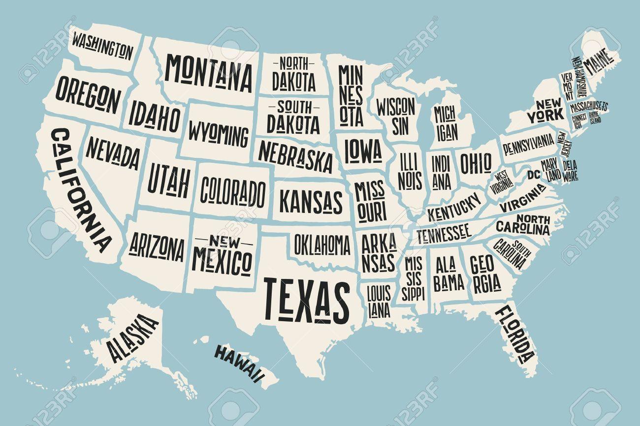 Affiche La Carte Des États-Unis D'amérique Avec Des Noms D'état. Imprimer  La Carte Des Etats-Unis Pour T-Shirt, Une Affiche Ou Thèmes Géographiques. tout Carte Des Etats Unis À Imprimer