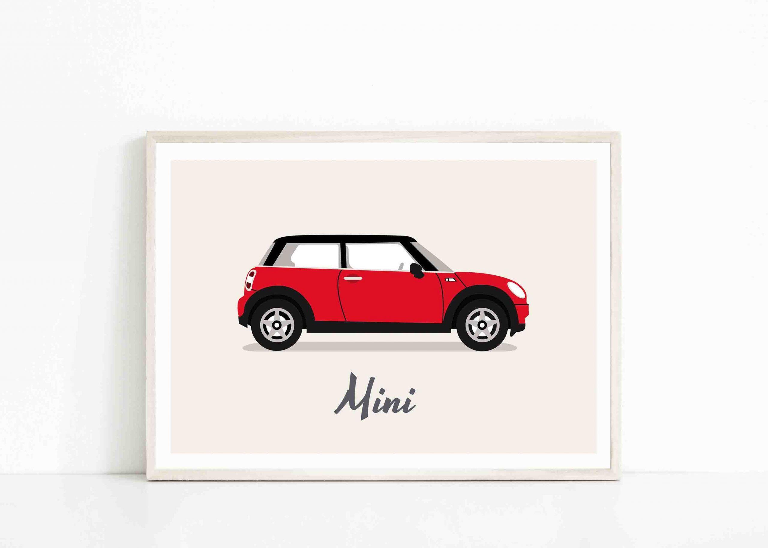Affiche Mini Cooper, Poster Mini, Voiture, Car, Wall Art destiné Mini Jeux De Voiture