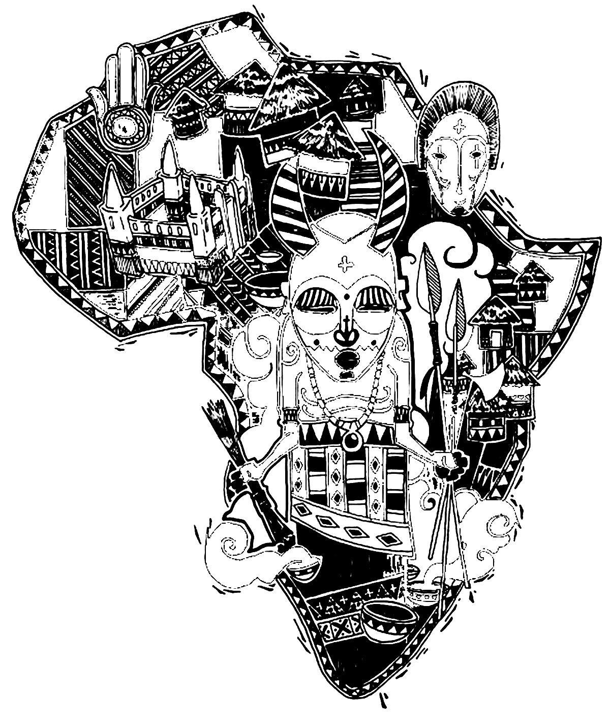 Afrique Carte Symboles - Coloriage Du Continent Africain encequiconcerne Dessin Africain A Colorier