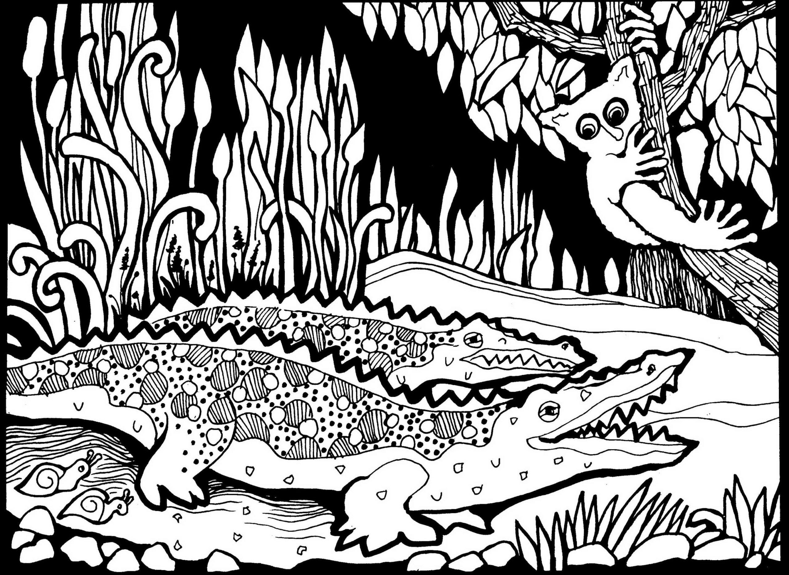 Afrique Dessin Crocodiles - Afrique - Coloriages Difficiles serapportantà Dessin Africain A Colorier