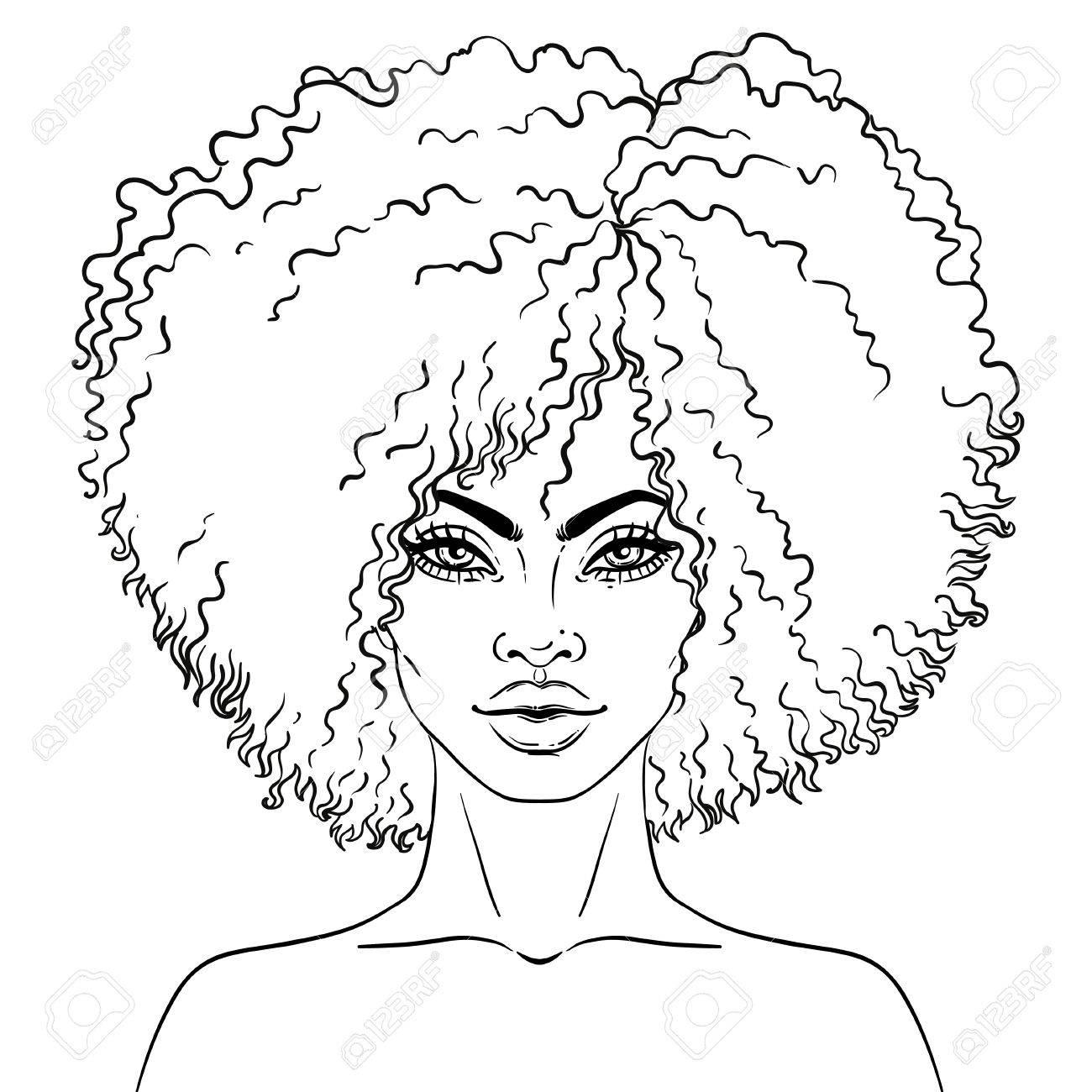 Afro-Américaine Jolie Fille. Illustration Vectorielle De Femme Noire. Idéal  Pour Les Avatars. Livre De Coloriage Pour Adultes. Carte De Visage. tout Visage À Colorier
