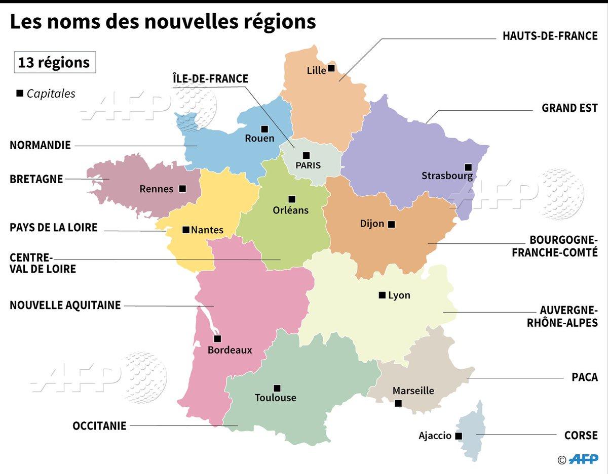 """Agence France-Presse On Twitter: """"les Noms Des Nouvelles serapportantà Nouvelles Régions De France"""