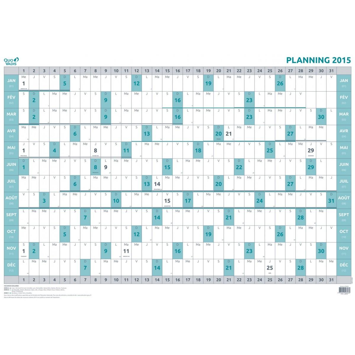 Agenda Quovadis Planning Annuel 90X63 Fr - 90X63Cm - 1 dedans Planning Annuel 2018