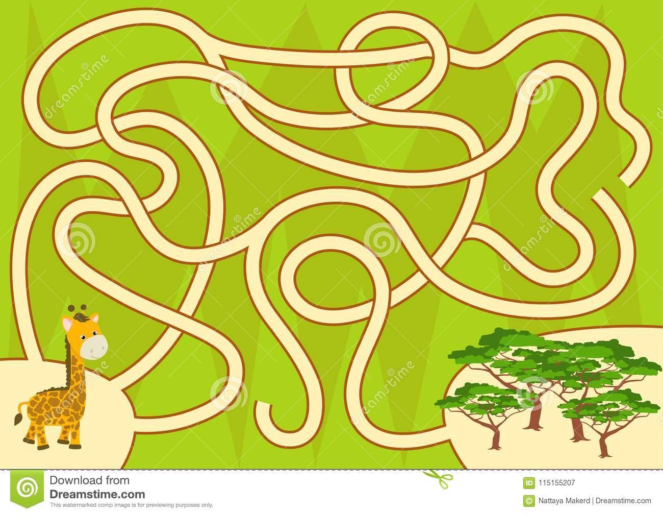 Aidez La Girafe De Nouveau Au Jeu De Labyrinthe De Forêt pour Jeux De Girafe Gratuit