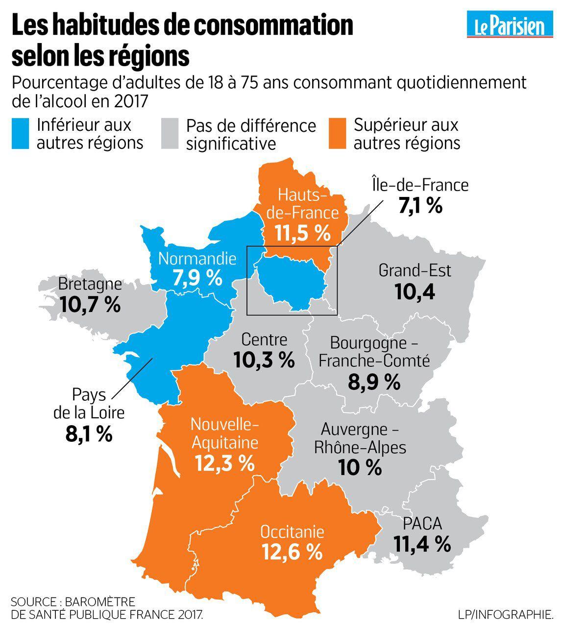 Alcool : Le Palmarès Des Régions Où On Boit Le Plus - Le concernant Nouvelles Régions De France 2017