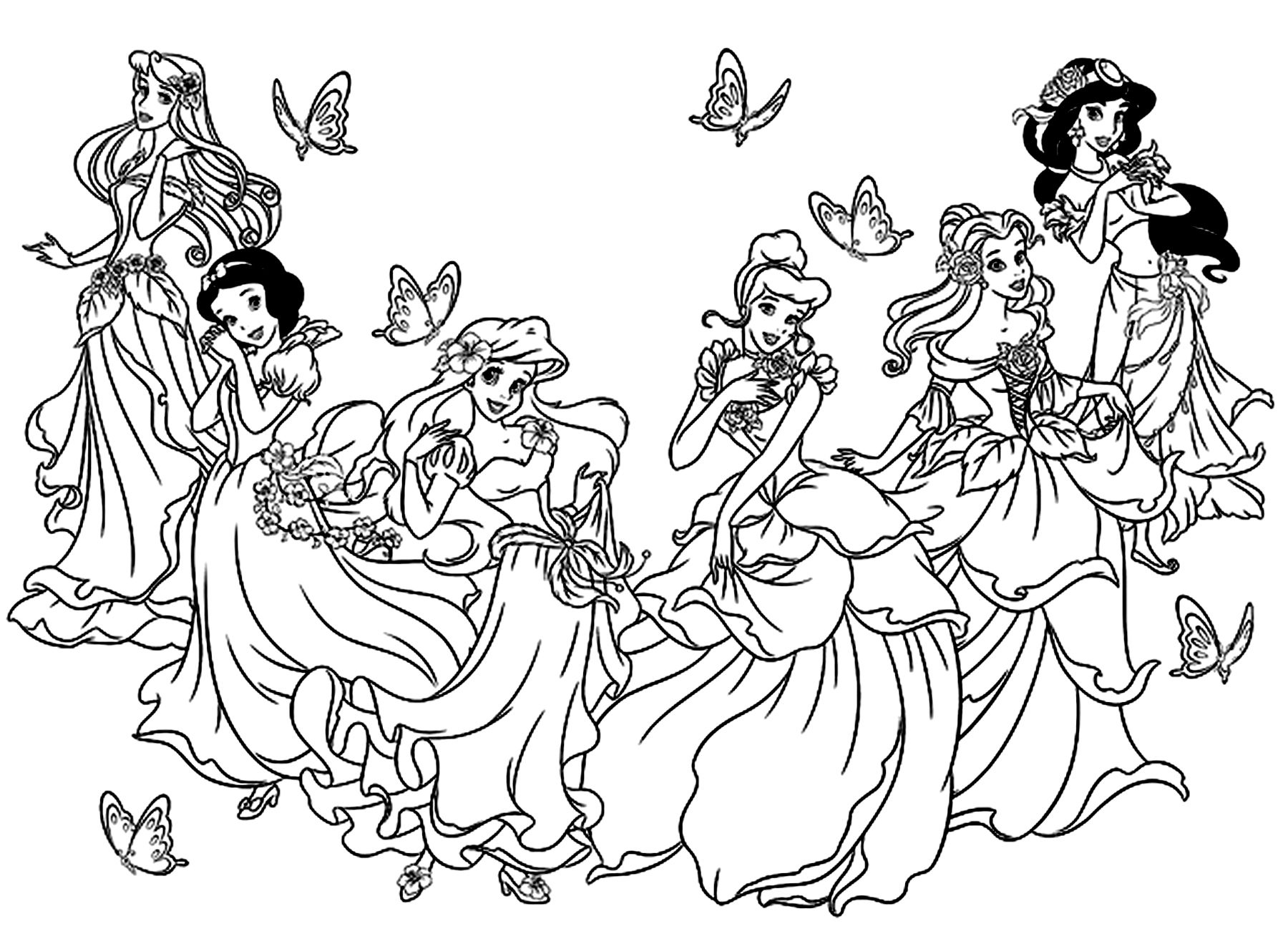 All Princesses Disneyfrom The Gallery : Back To Childhood pour Coloriage Princesses Disney À Imprimer