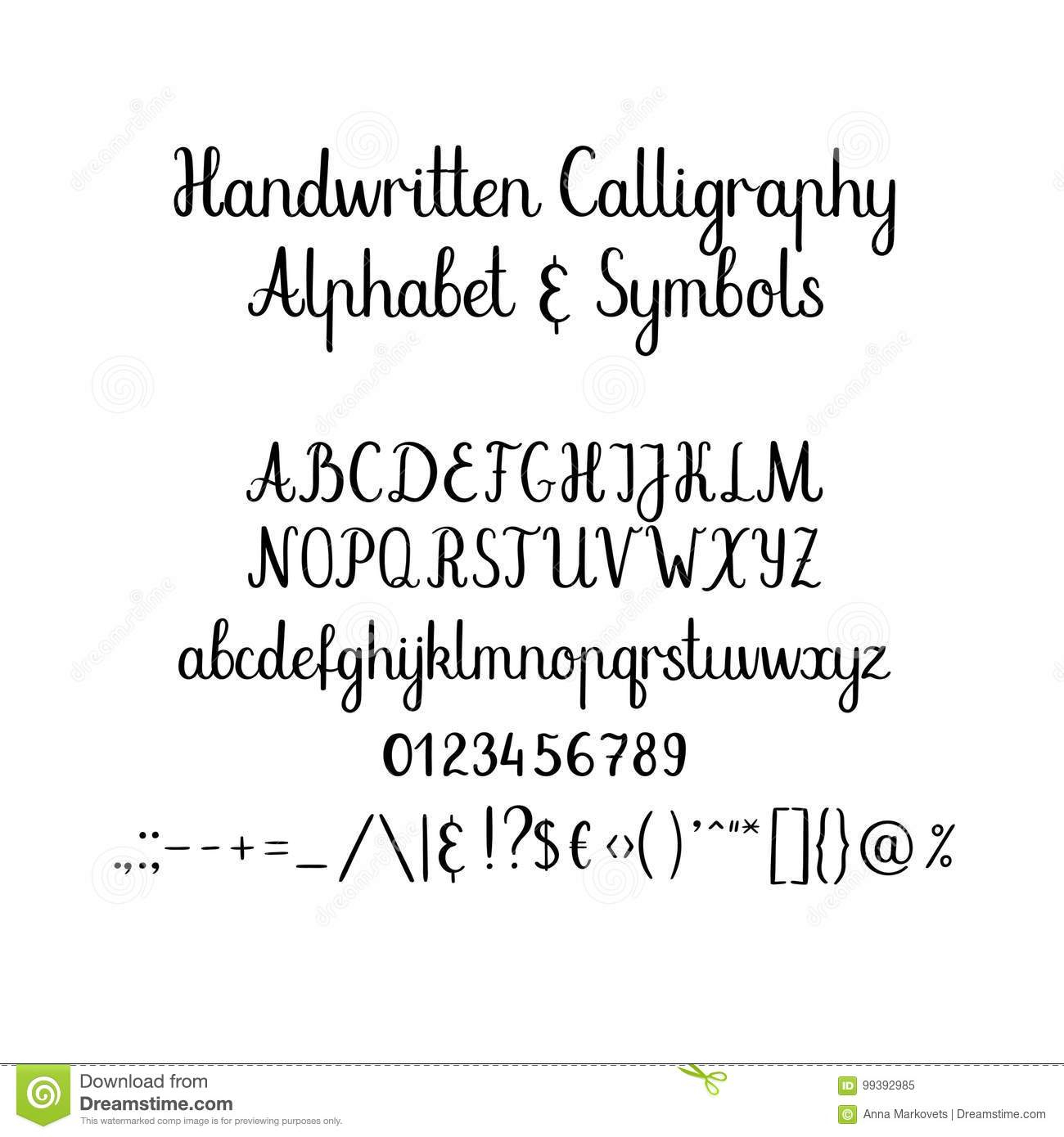 Alphabet Calligraphique Police Manuscrite De Brosse avec L Alphabet En Majuscule