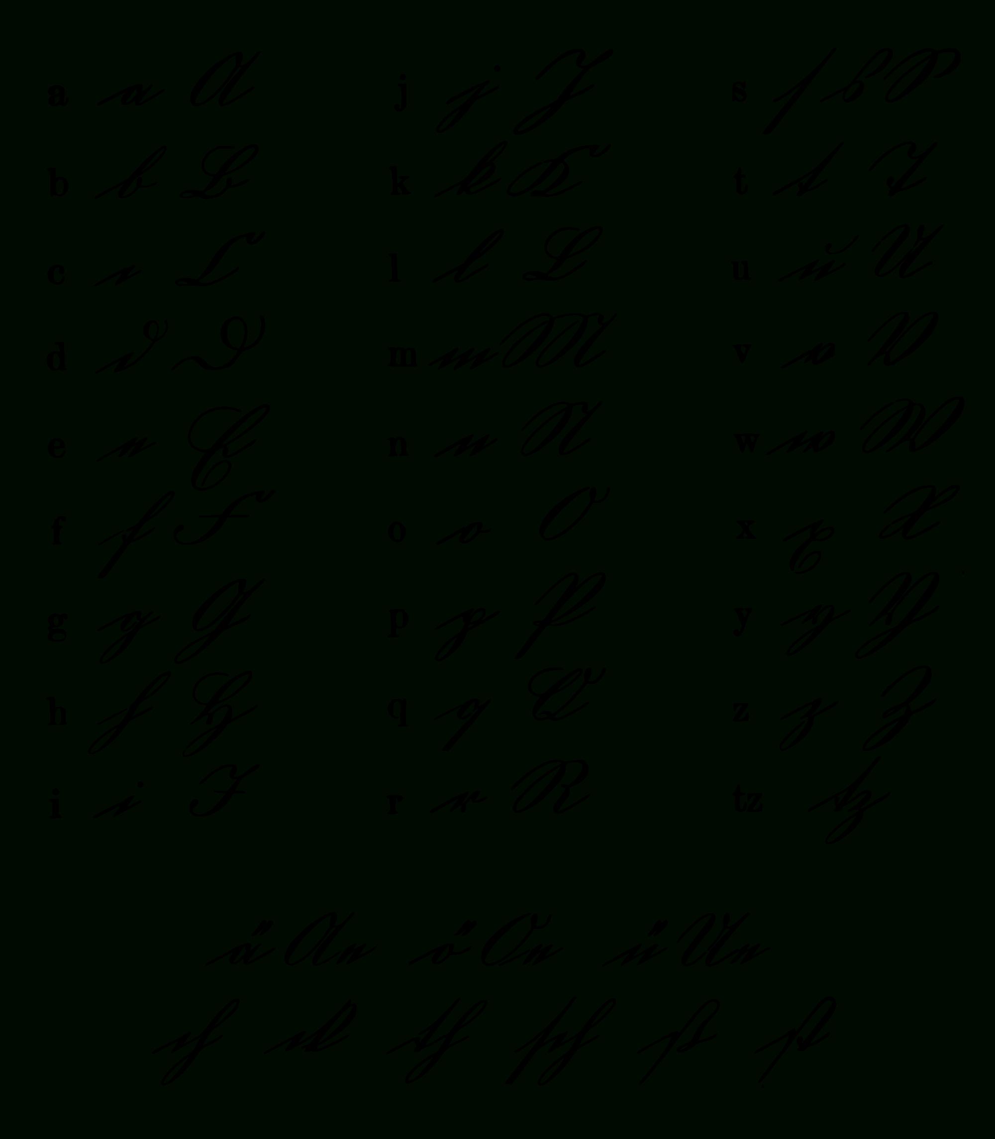Alphabet Der Kurrentschrift, Um 1865 Österreich à Alphabet Script Minuscule
