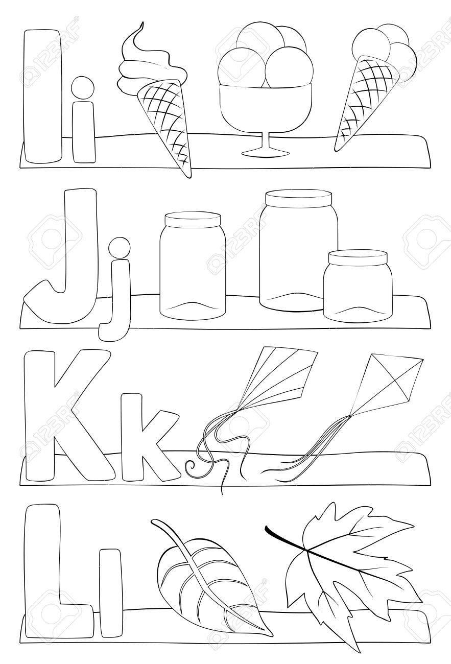 Alphabet Éducation Coloriage Pour Les Enfants. Apprendre Les Lettres De  L'alphabet. Lettres I, J, K, L. Illustration Vectorielle à Apprendre Les Lettres De L Alphabet