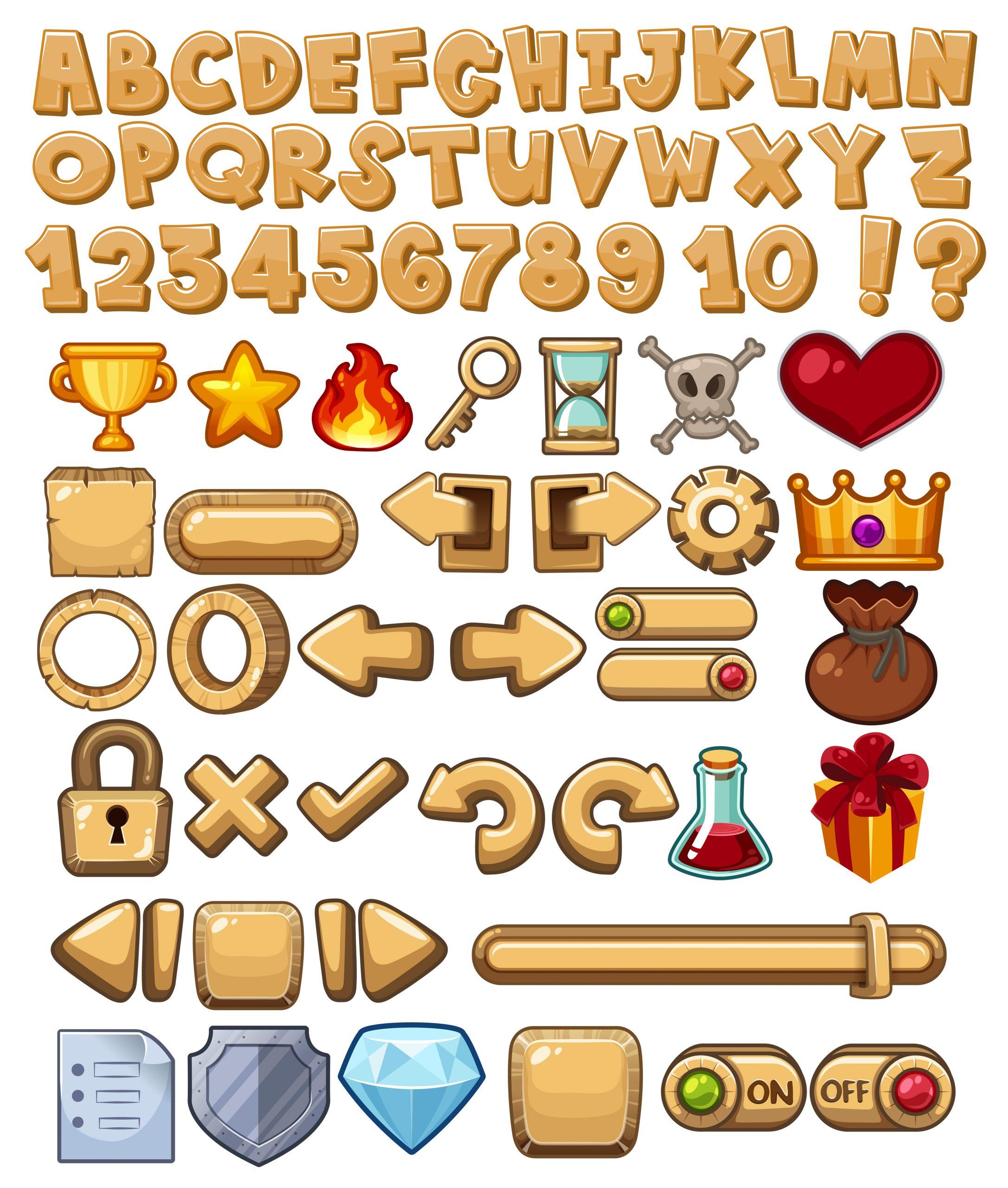 Alphabet Et Icône Du Jeu - Telecharger Vectoriel Gratuit encequiconcerne Jeux Alphabet Maternelle Gratuit