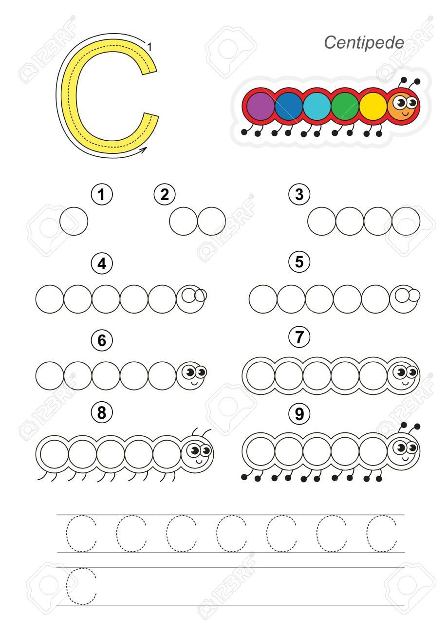 Alphabet Illustré De Vecteur Avec Des Jeux Éducatifs Enfant Pour Apprendre  L'écriture Avec Un Niveau De Jeu Facile Pour Les Enfants D'âge Préscolaire, dedans Jeux Pour Apprendre L Alphabet