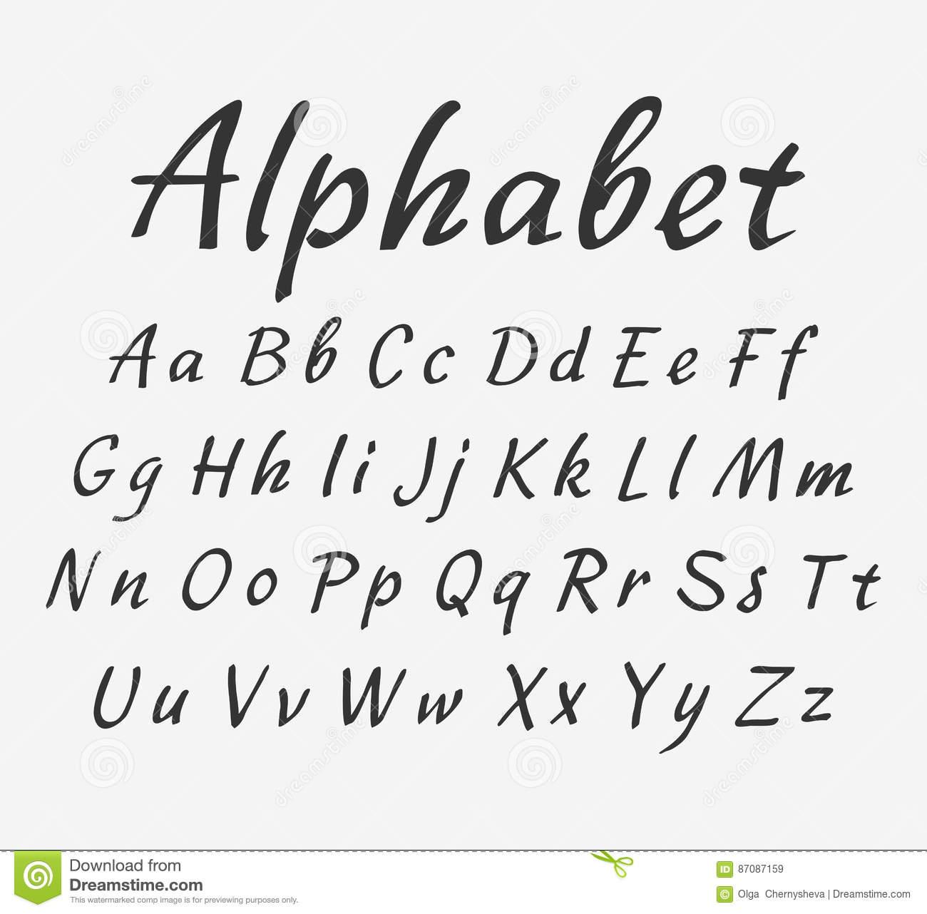 Alphabet Manuscrit De Vecteur Lettres Majuscules Et dedans Alphabet Majuscule Et Minuscule