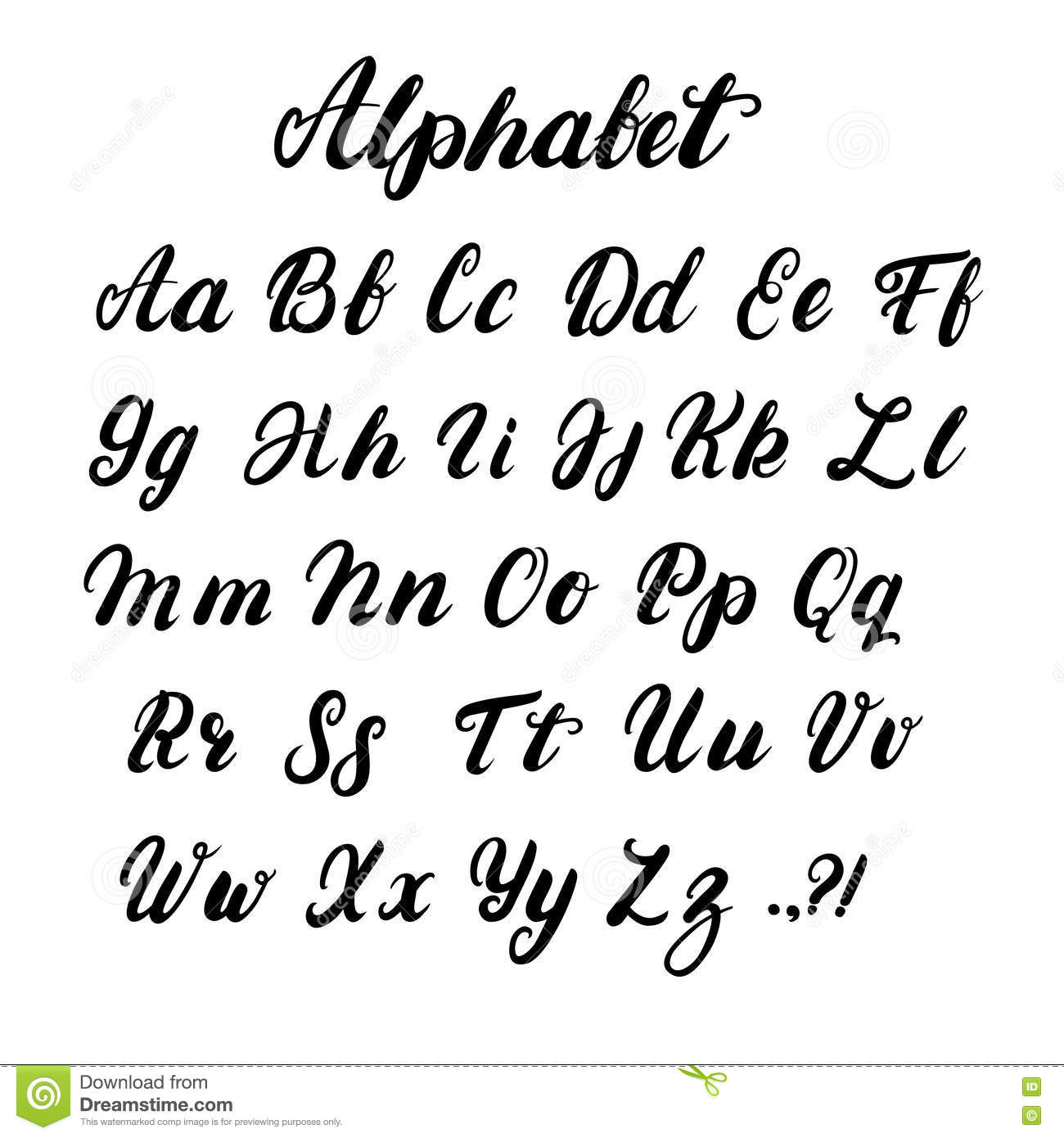 Alphabet Minuscule Et Majuscule De Calligraphie Écrit Par tout Alphabet Majuscule Et Minuscule