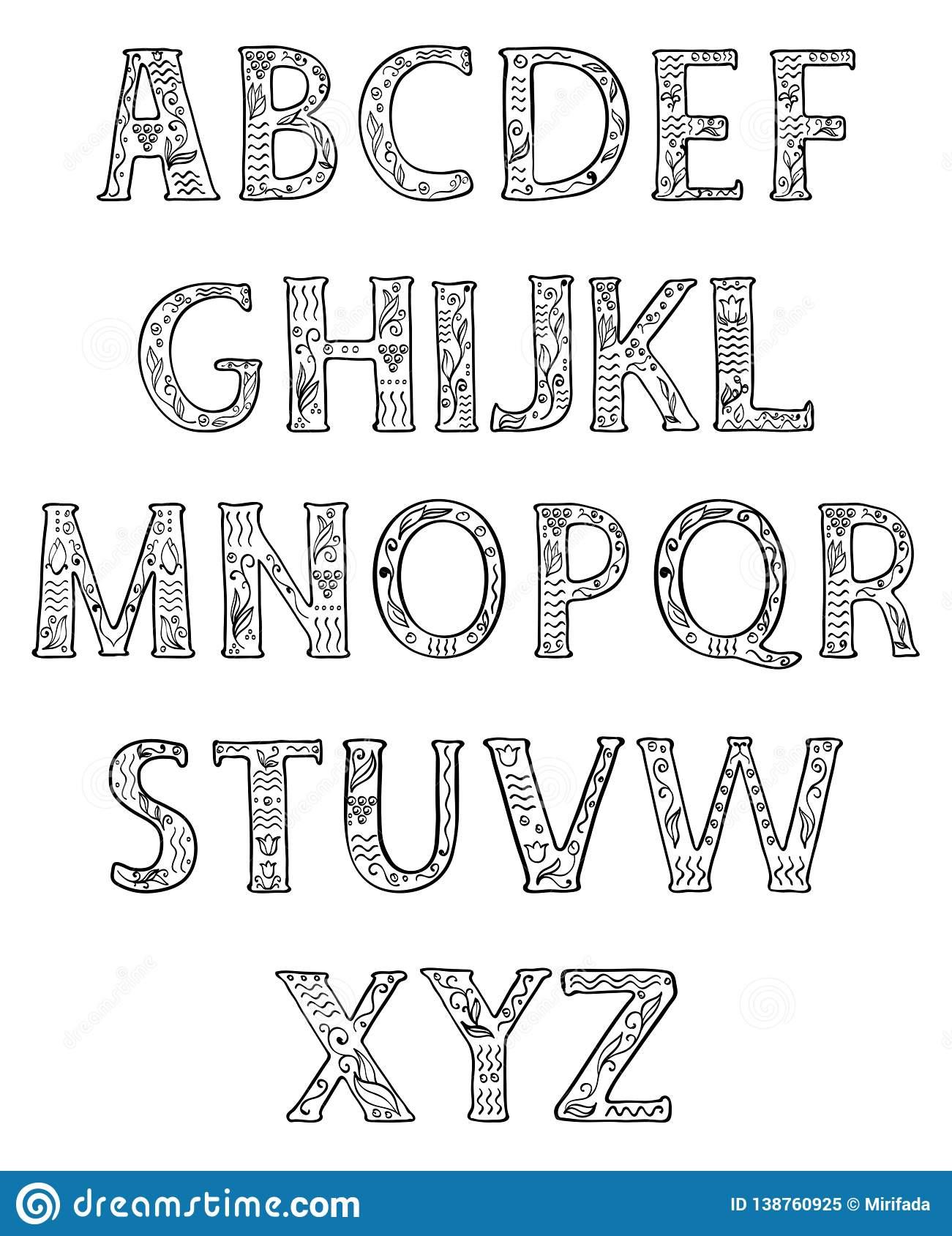 Alphabet Noir Et Blanc Majuscules Décorées Des Modèles encequiconcerne Modele Alphabet Majuscule