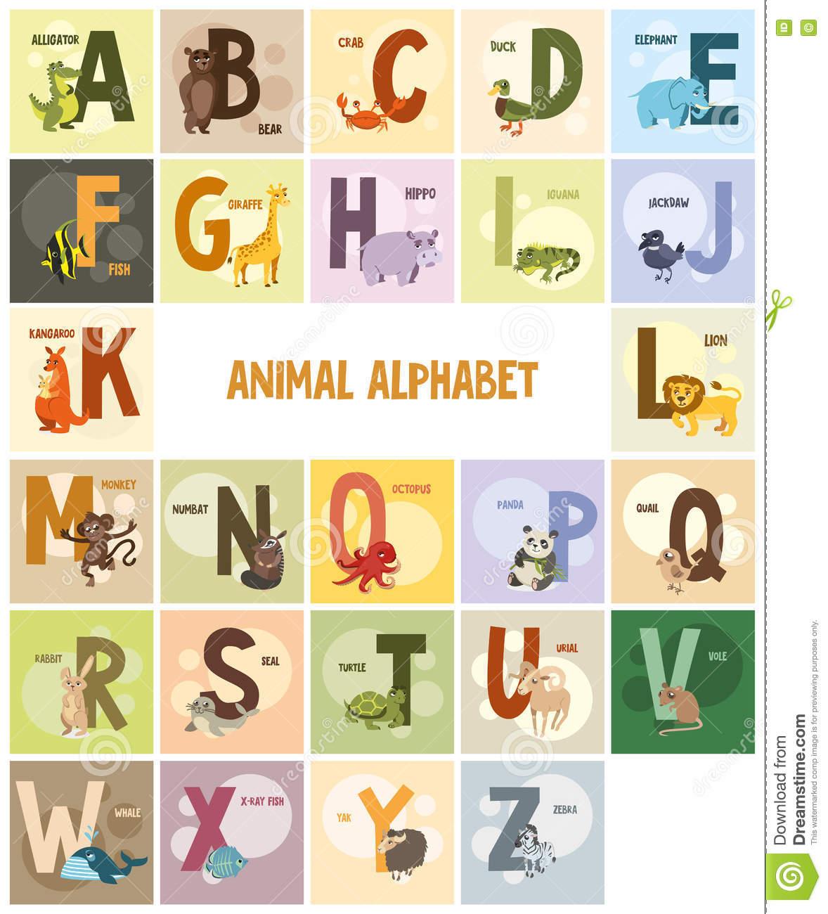 Alphabet, Noms Et Animaux Sur Les Milieux Colorés encequiconcerne Apprendre Le Nom Des Animaux