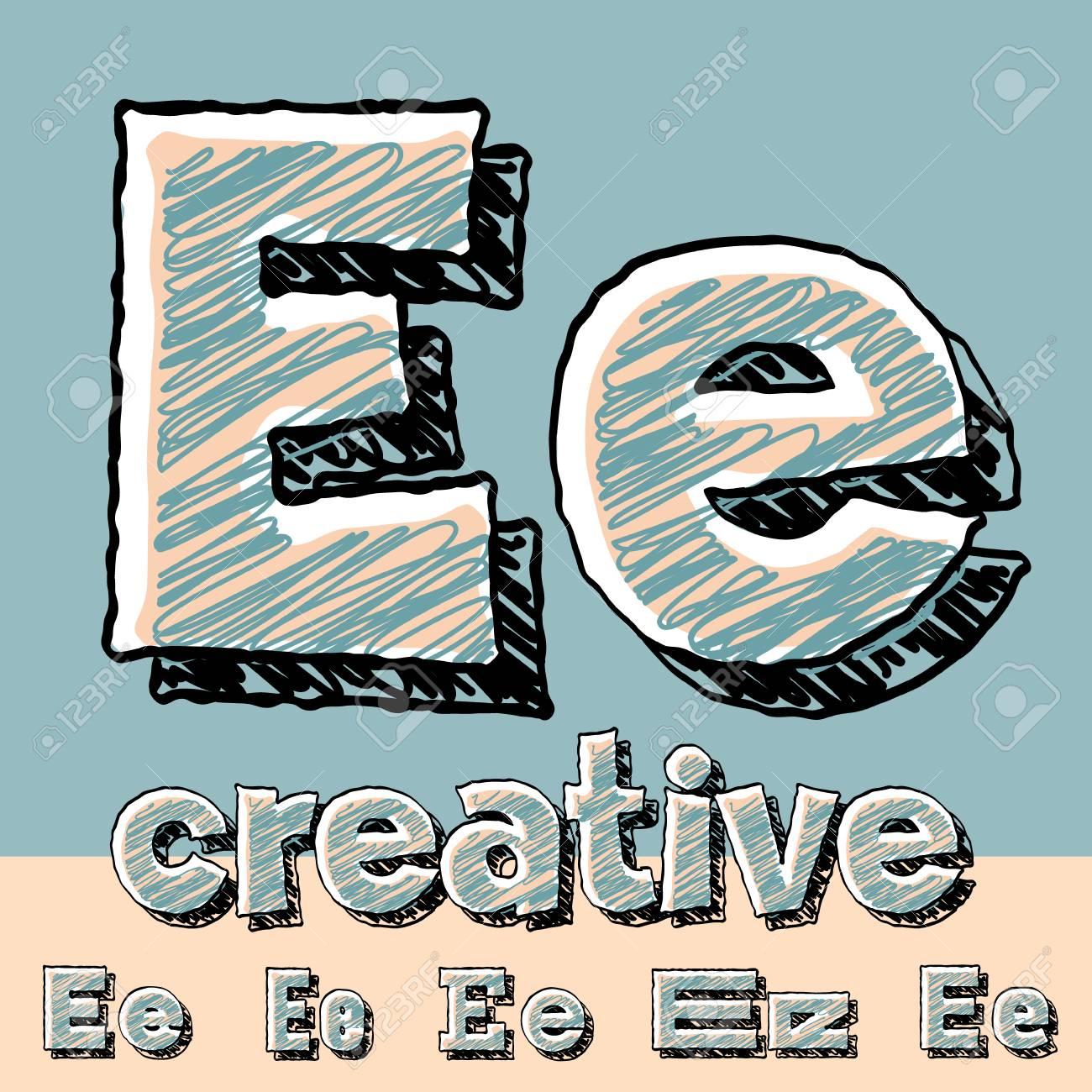 Alphabet Sketch Drôle. Vector Illustration De La Police De encequiconcerne Dessin Lettre E