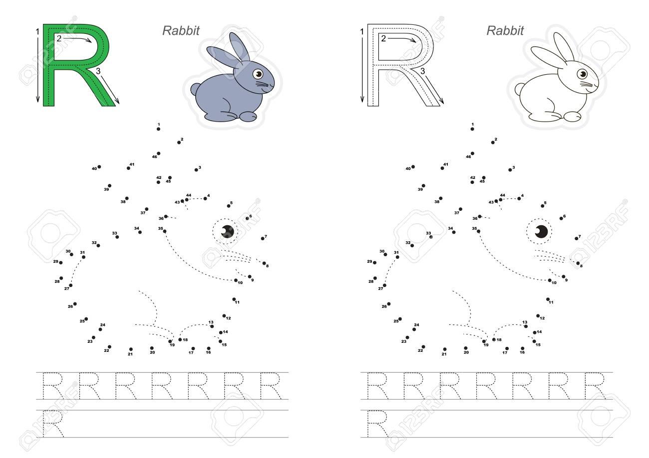 Alphabet Vector Exercice Avec Des Jeux Éducatifs Pour Enfants Pour  Apprendre L'écriture, Avec Un Niveau De Jeu Facile Pour Les Enfants D'âge avec Point À Relier Alphabet