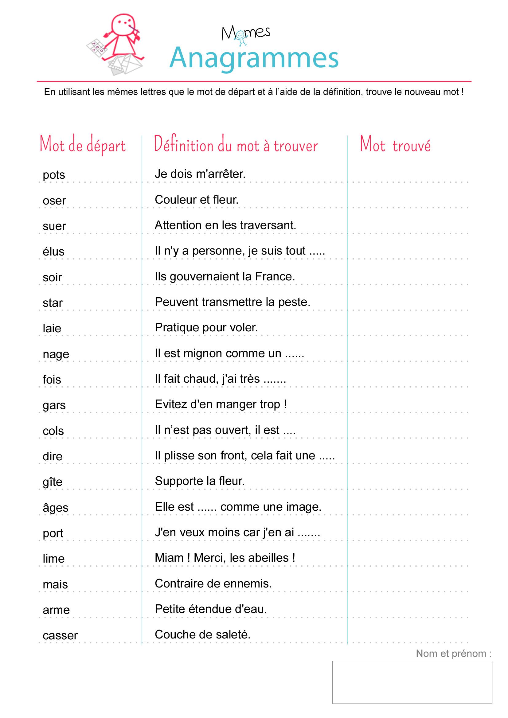 Anagrammes : Exercice - Momes destiné Jeux De Lettres À Imprimer