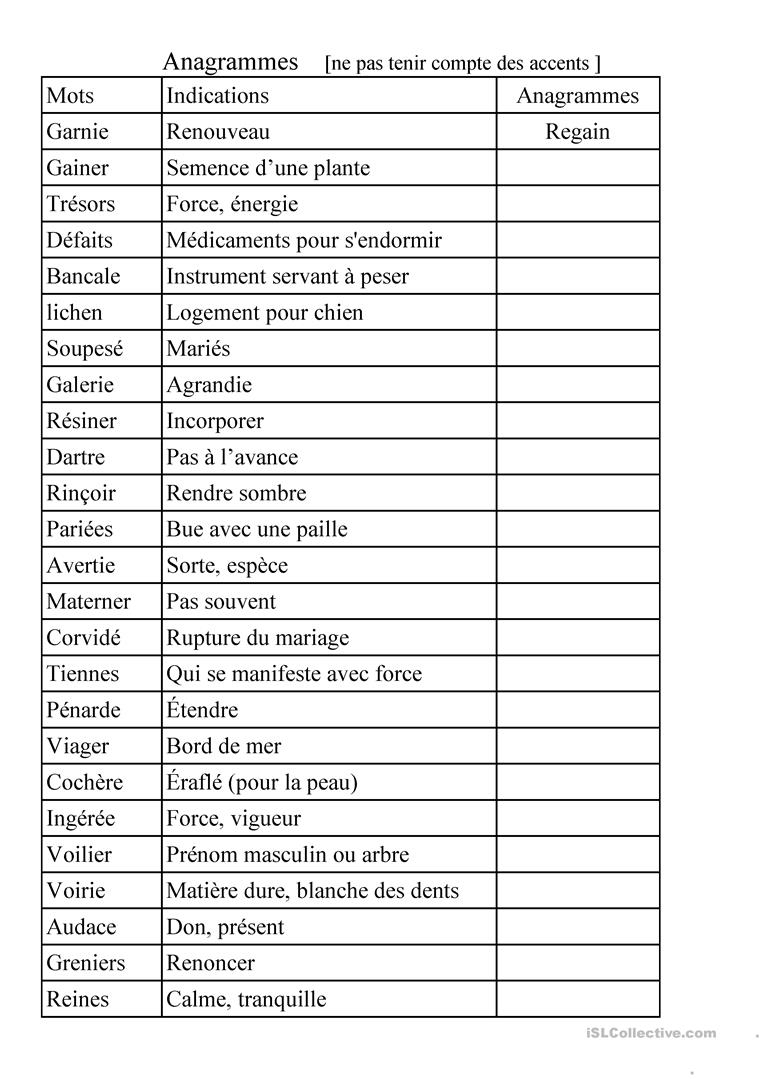 Anagrammes - Français Fle Fiches Pedagogiques destiné Anagrammes À Imprimer