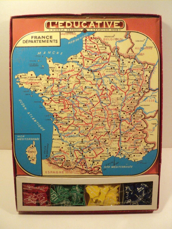 Ancien Jeu Éducatif La France En Puzzle Carte Des tout Jeu Carte De France