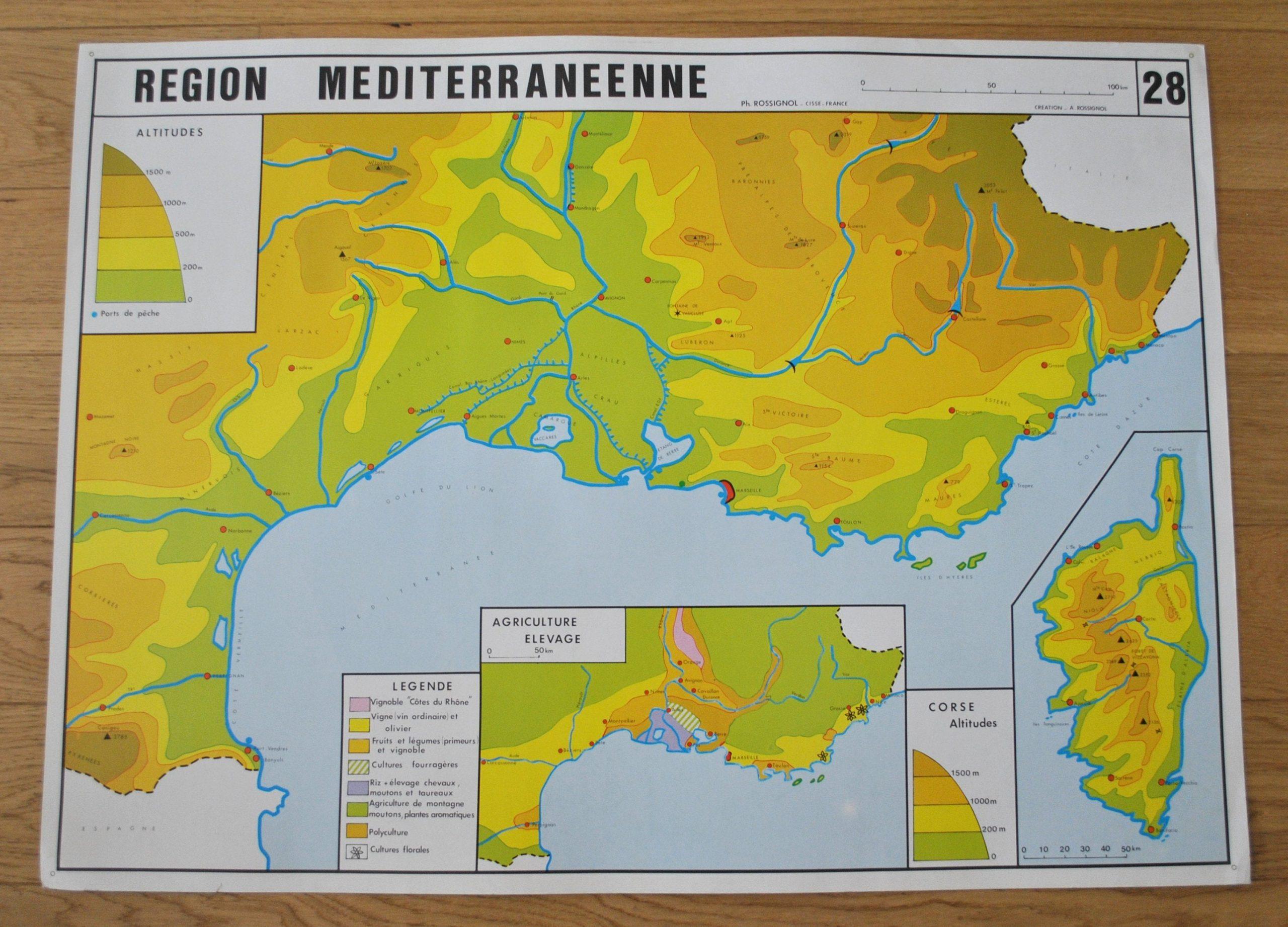 Ancienne Carte De Géographie Double Face - France : Région dedans Carte De France Et Ses Régions