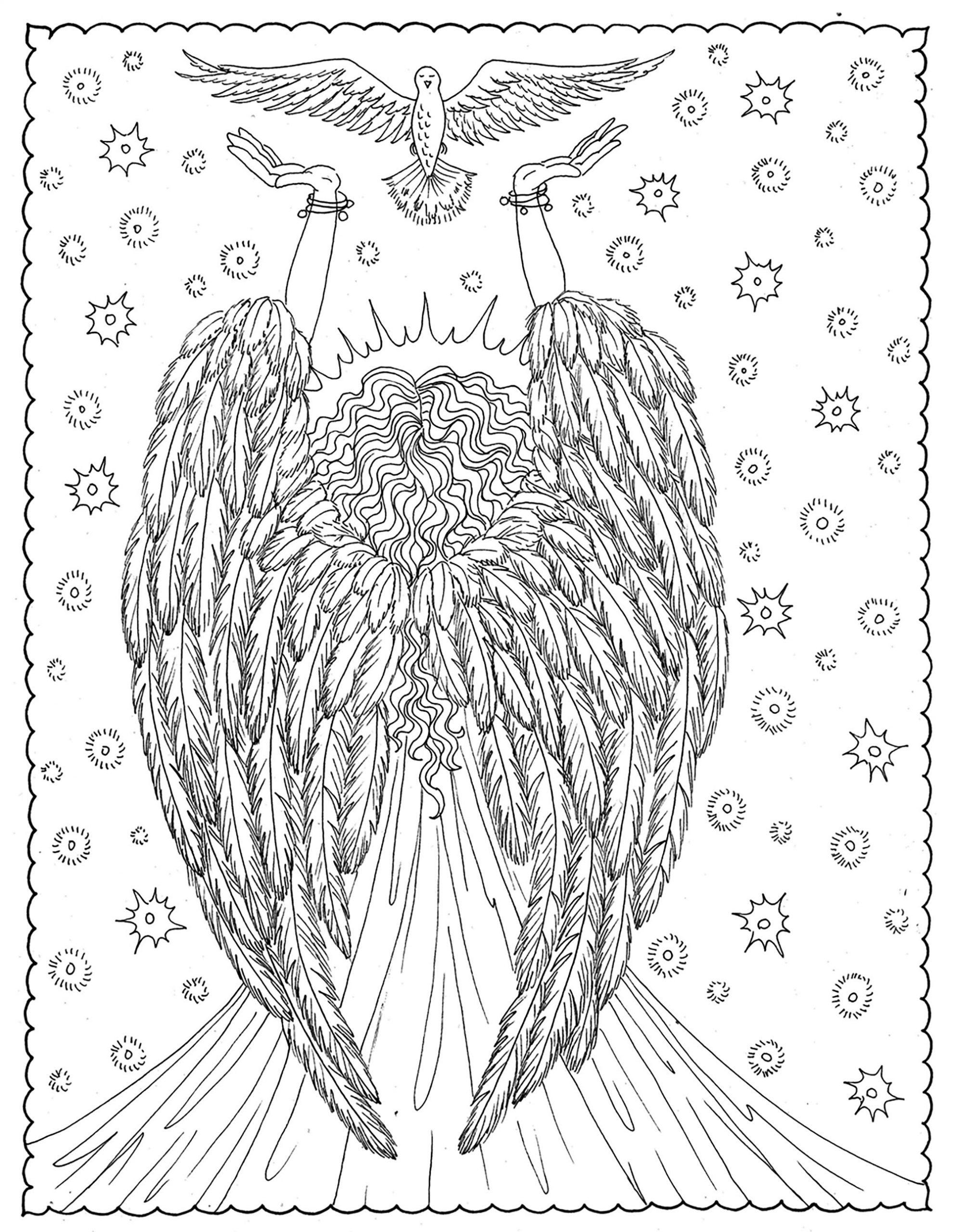 Ange De La Liberte - Anti-Stress & Art-Thérapie - Coloriages destiné Ange A Colorier