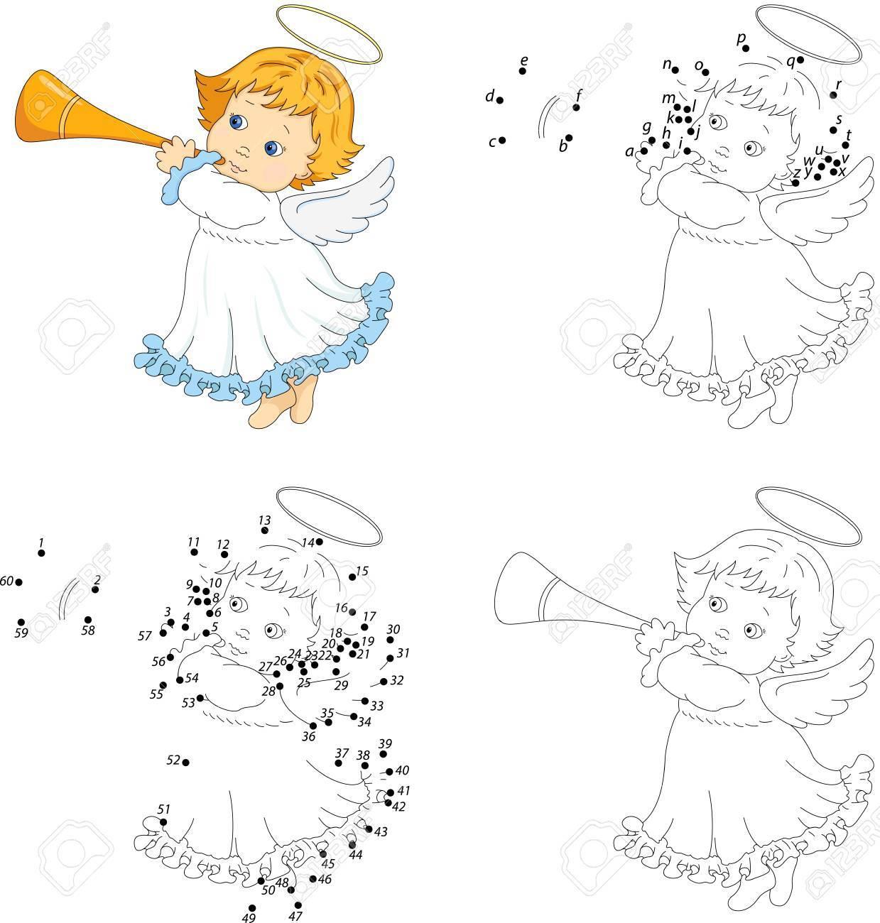 Ange De Noël Avec Une Trompette. Livre De Coloriage Et Jeu Éducatif Point À  Point Pour Les Enfants encequiconcerne Trompette À Colorier