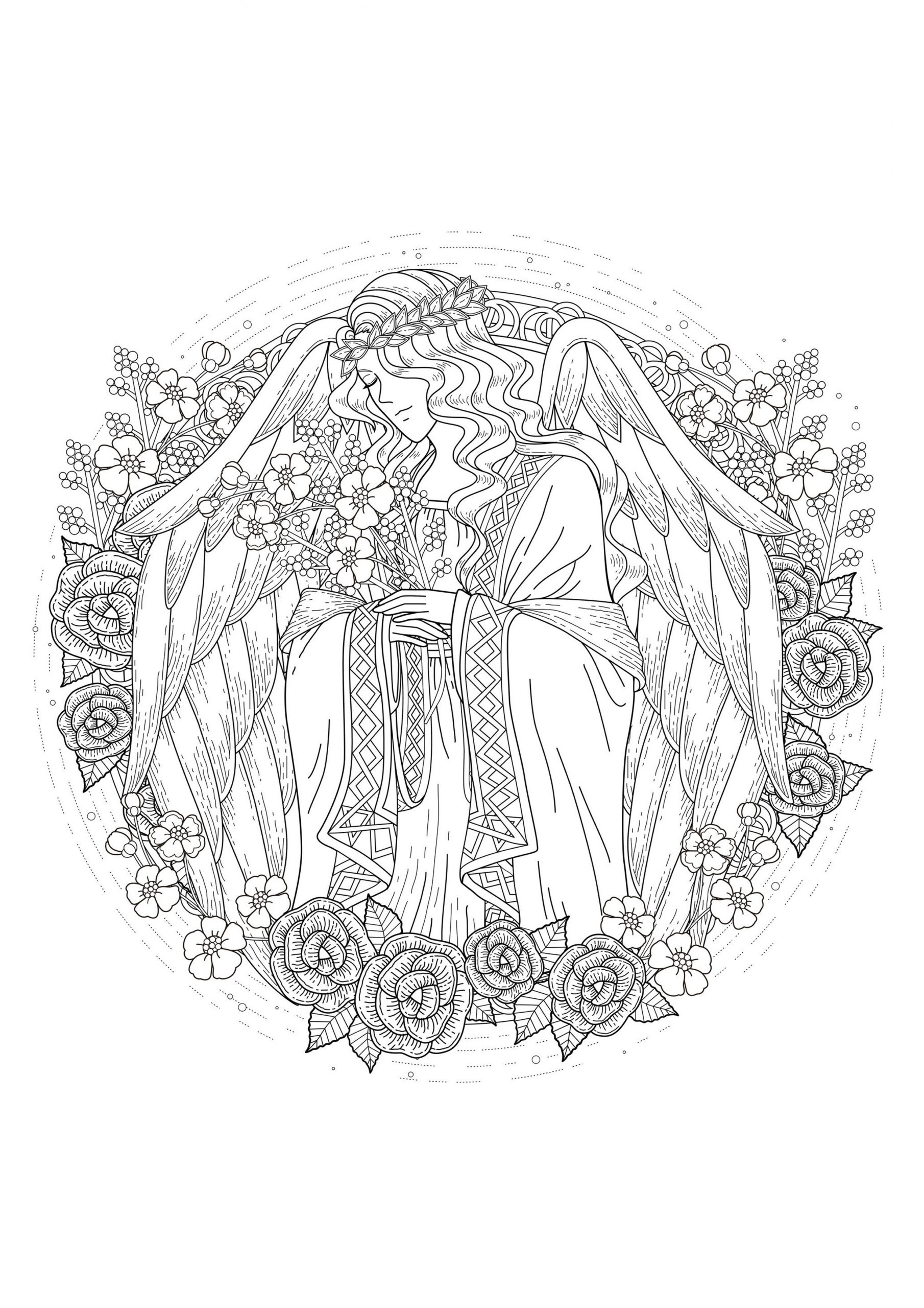 Ange - Mythes Et Légendes - Coloriages Difficiles Pour Adultes serapportantà Ange A Colorier