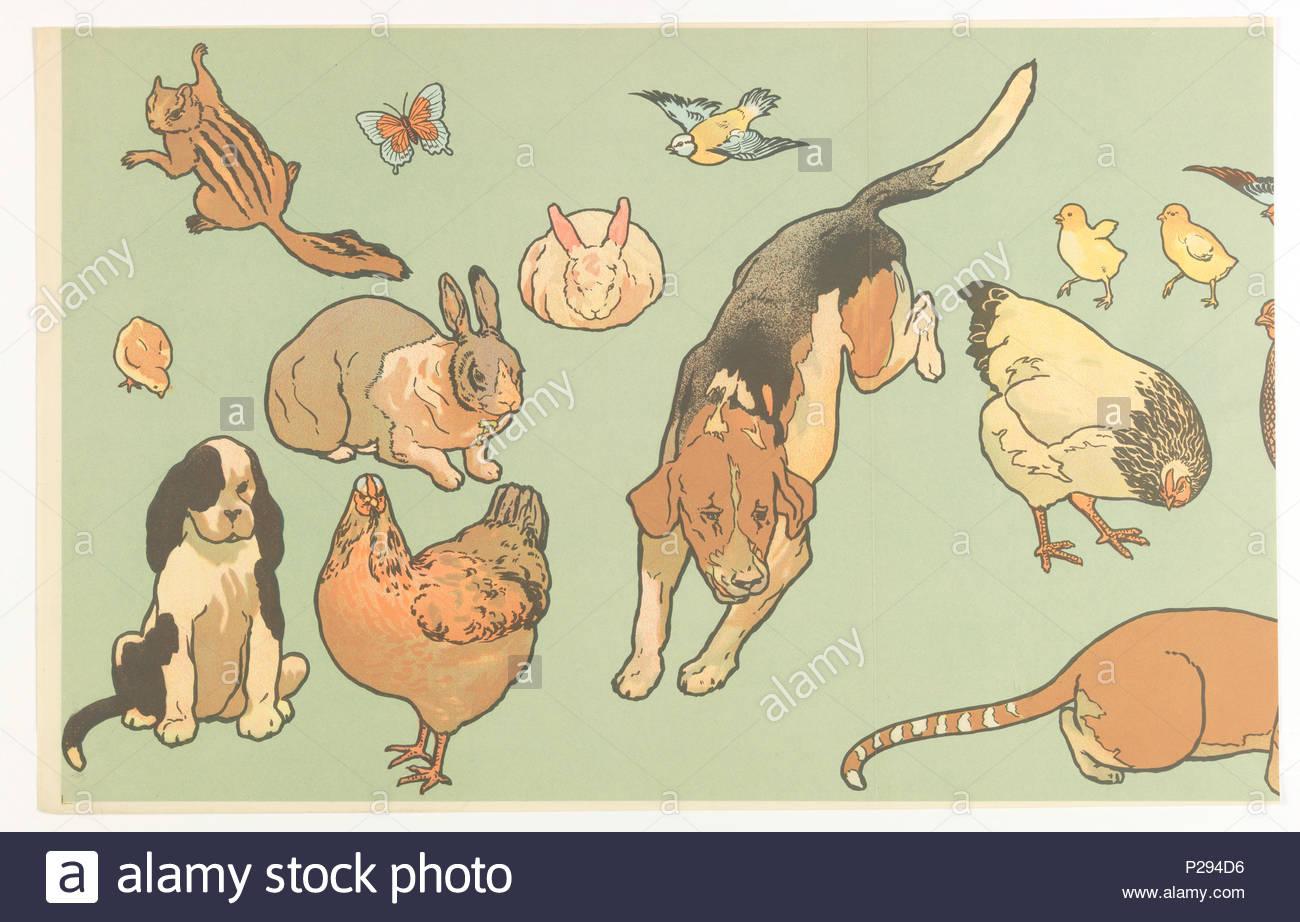 Anglais : Frise - Découpe, Maternelles Poinçonnés, 1906 avec Les Animaux Domestiques En Maternelle